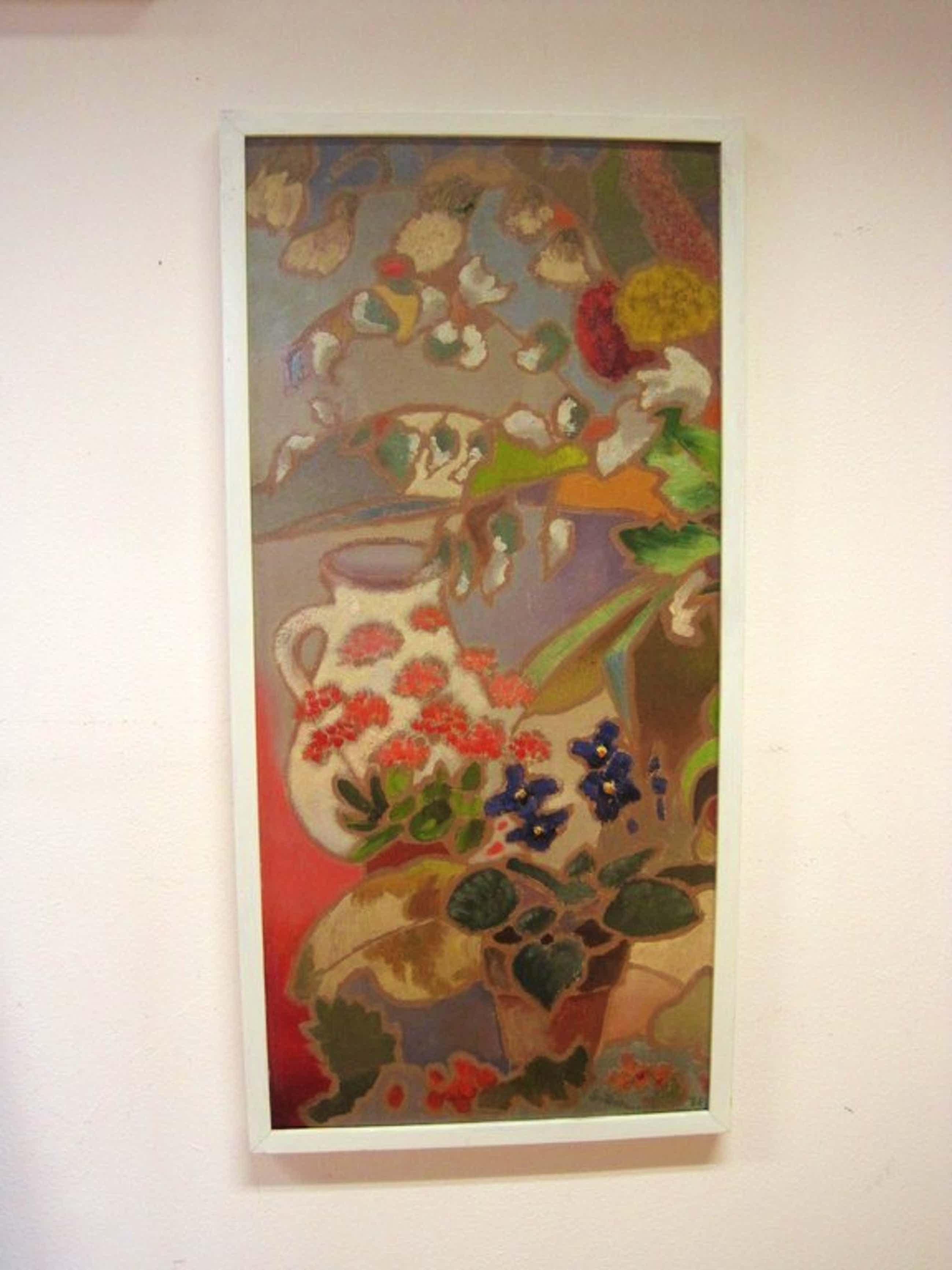 "Sebo Detmers ( 1910 - ?) olieverf  ""stilleven met viooltjes"" 1966 gedateerd kopen? Bied vanaf 261!"