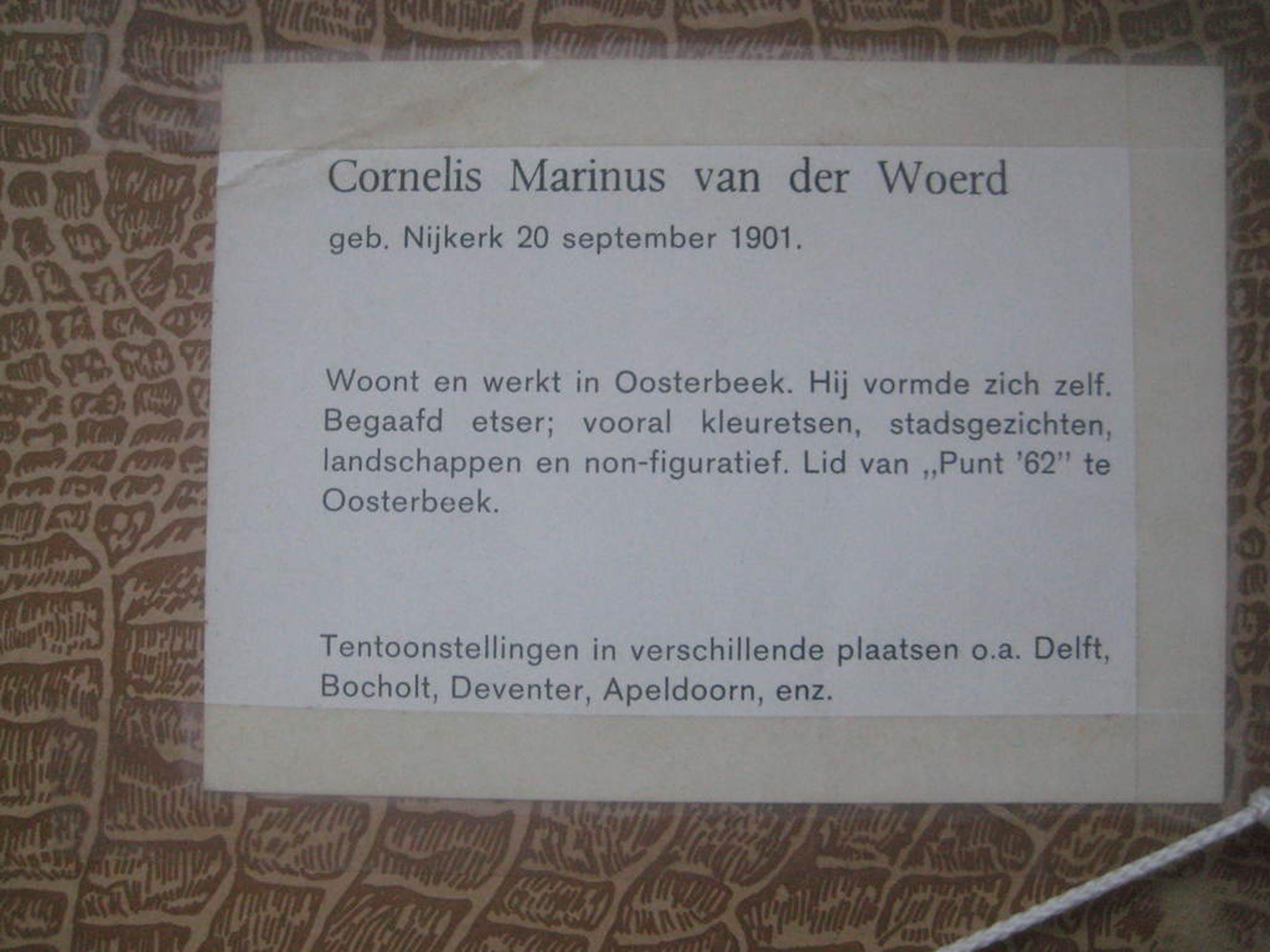 C. van der Woerd; ets, Gezicht op Kampen kopen? Bied vanaf 55!