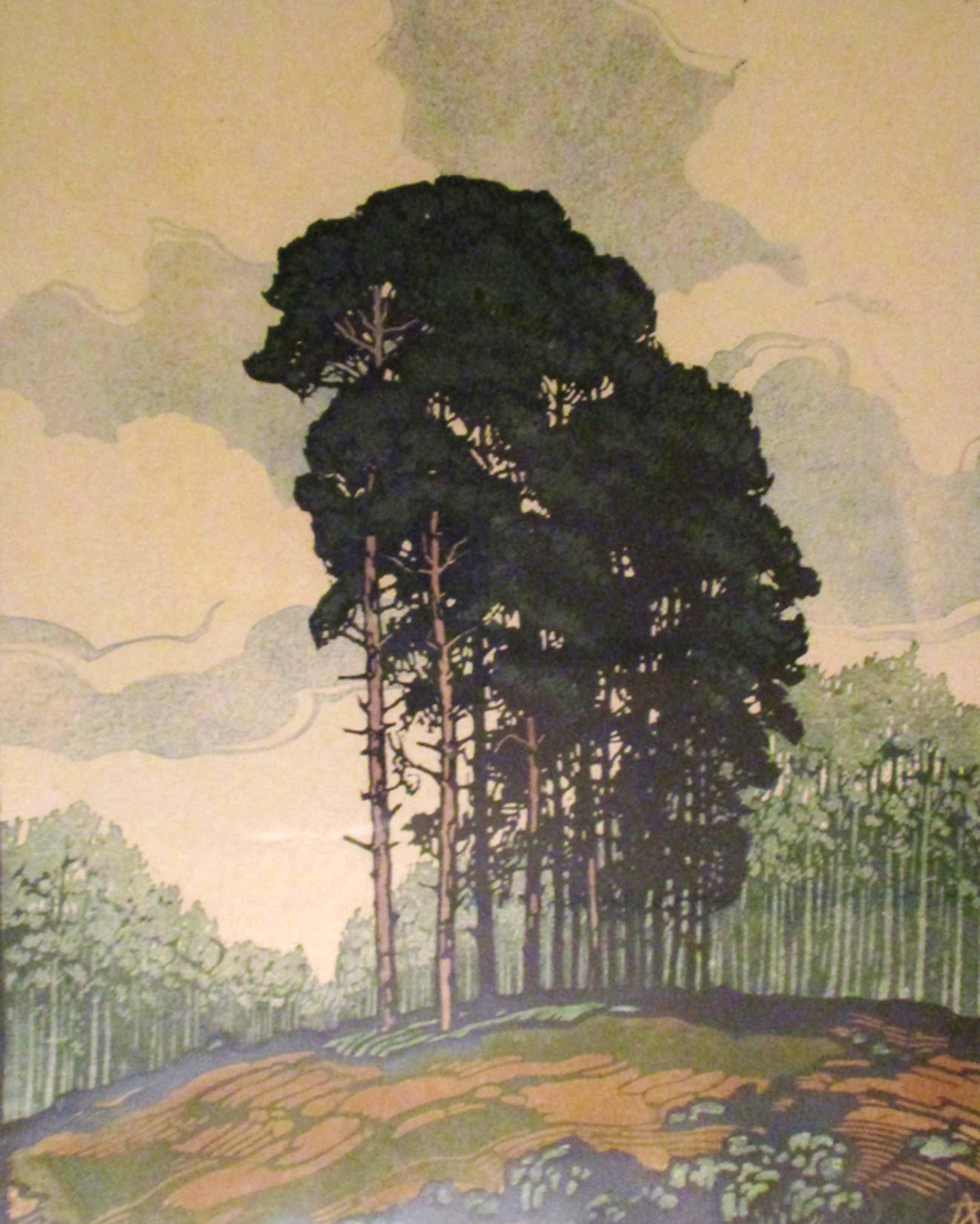 Arie Zonneveld: Kleurenhoutsnede handdruk, Groote boomgroep kopen? Bied vanaf 179!