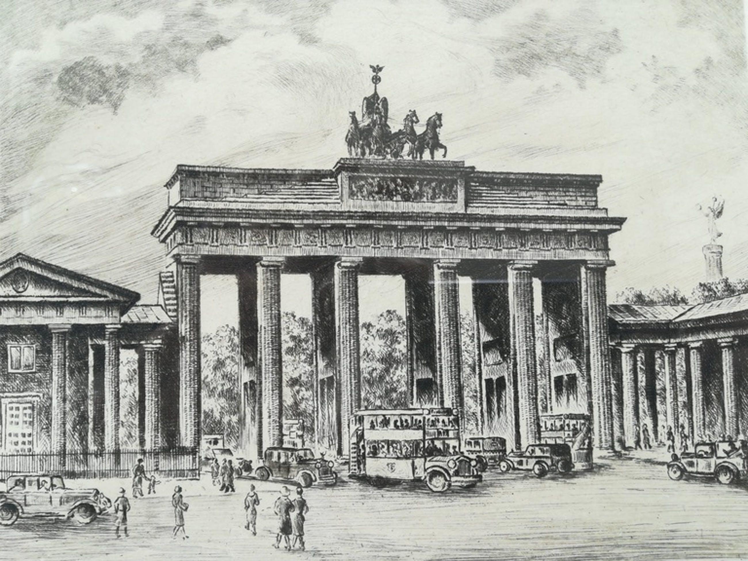 Onbekende kunstenaar, handgesigneerd ro. Ets, Berlin, Brandenburger Tor kopen? Bied vanaf 1!
