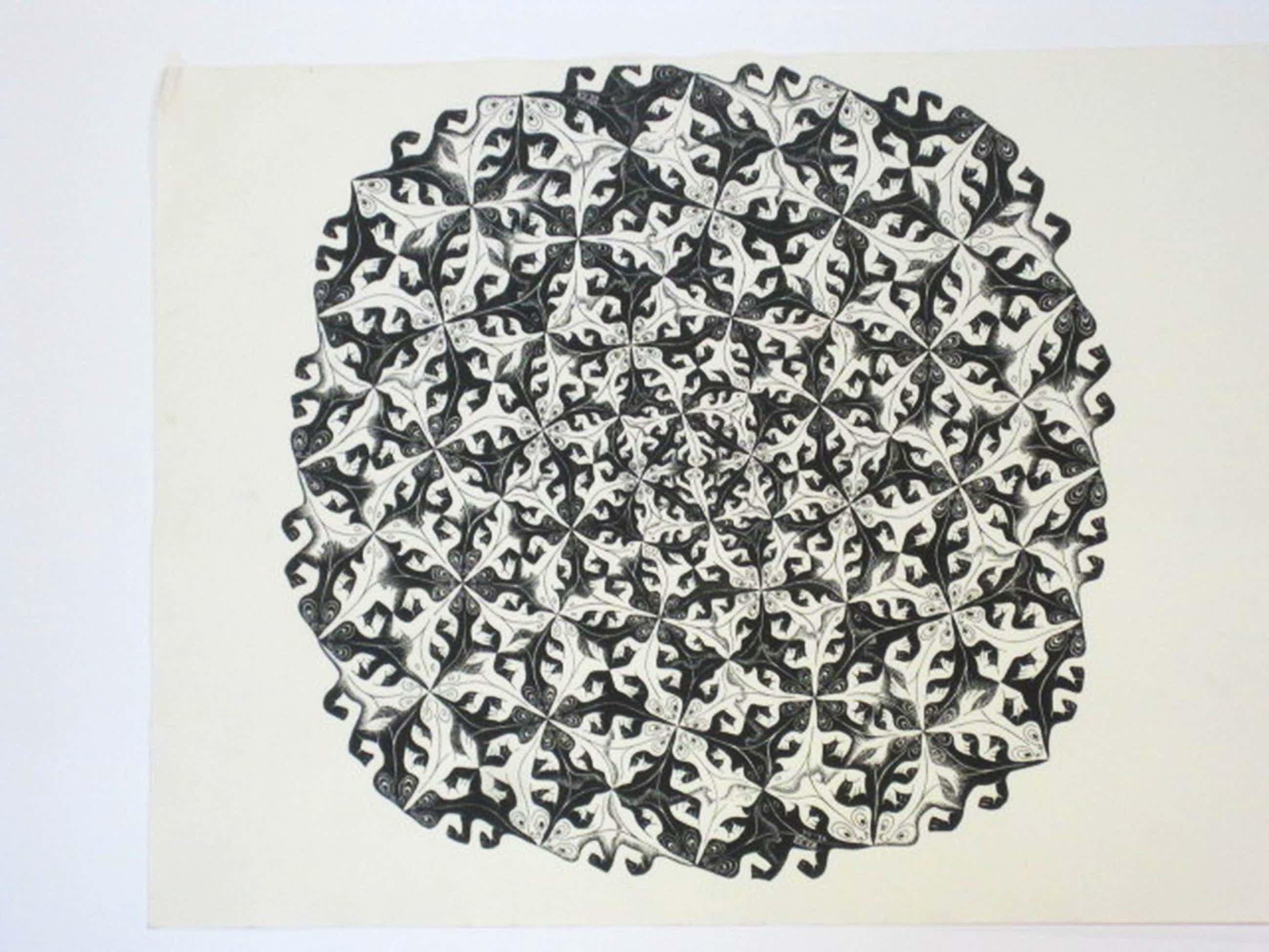 """M.C.Escher oude  lithografie VII - 56 """" salamanders """"  kopen? Bied vanaf 100!"""