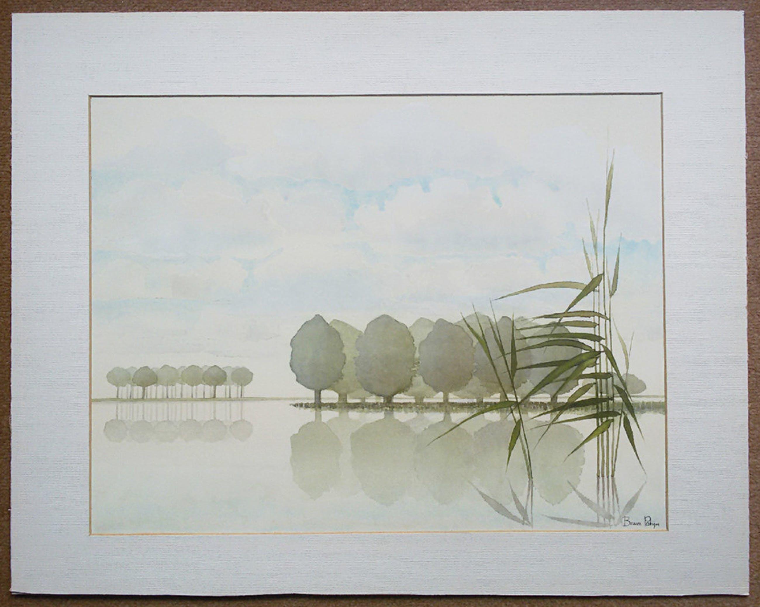 Bram Patijn - Polderlandschap, aquarel (in passe-partout) kopen? Bied vanaf 25!
