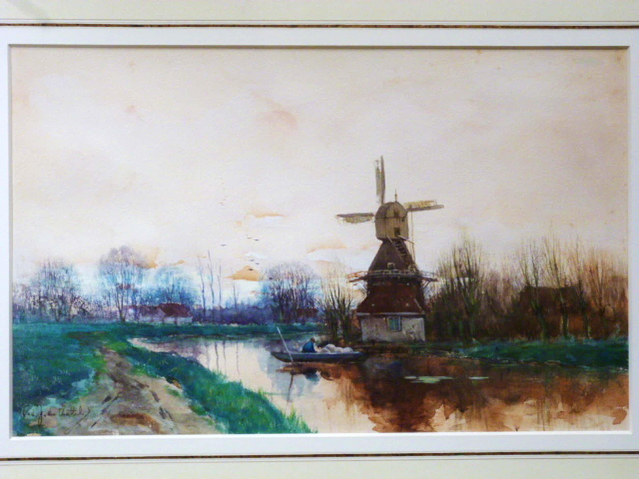F.J. van Rossum du Chattel - aquarel - Molen aan vaart met boer in roeiboot kopen? Bied vanaf 345!