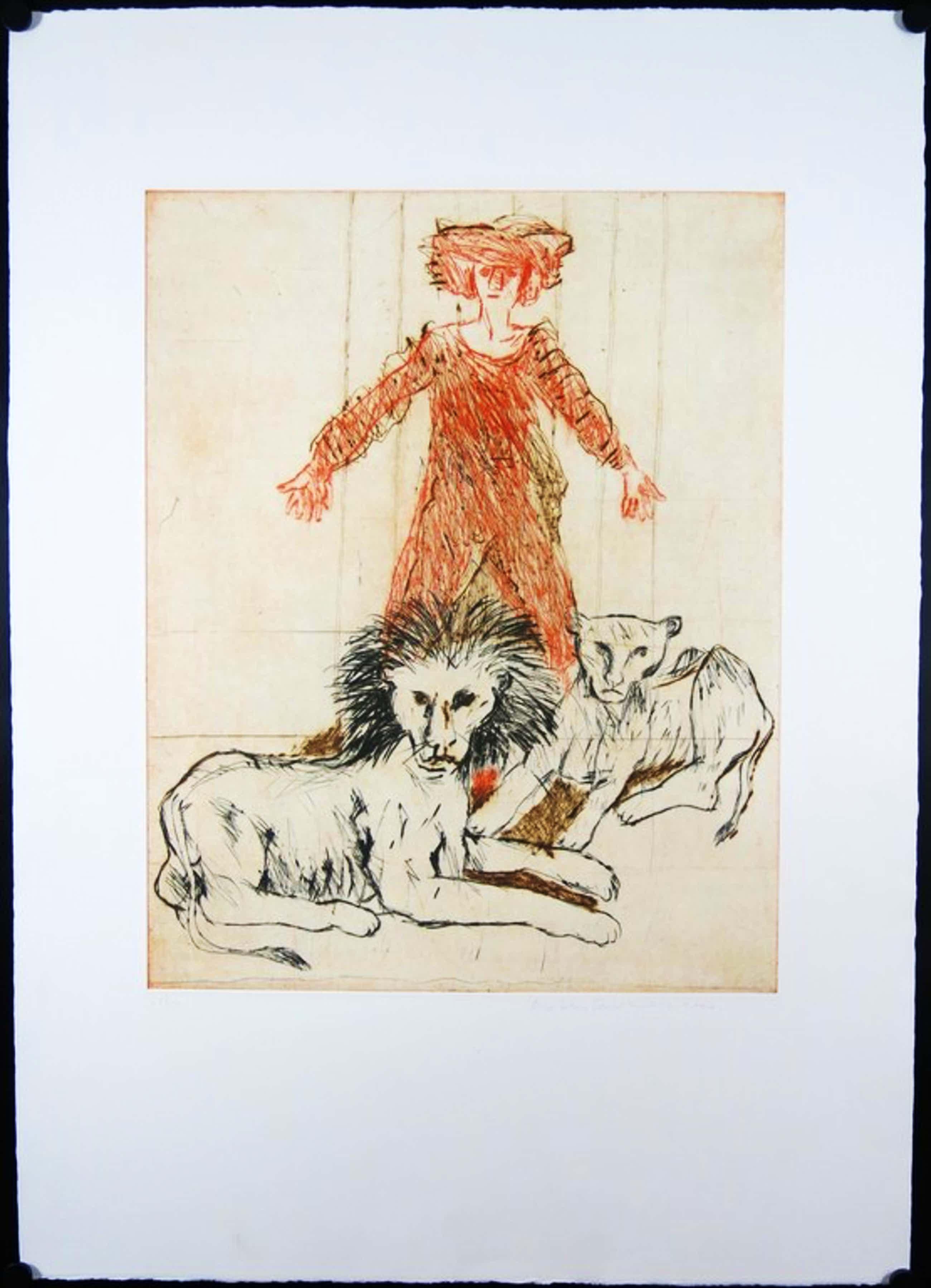 Robert Terwindt: Ets, Vrouw met leeuwen kopen? Bied vanaf 36!