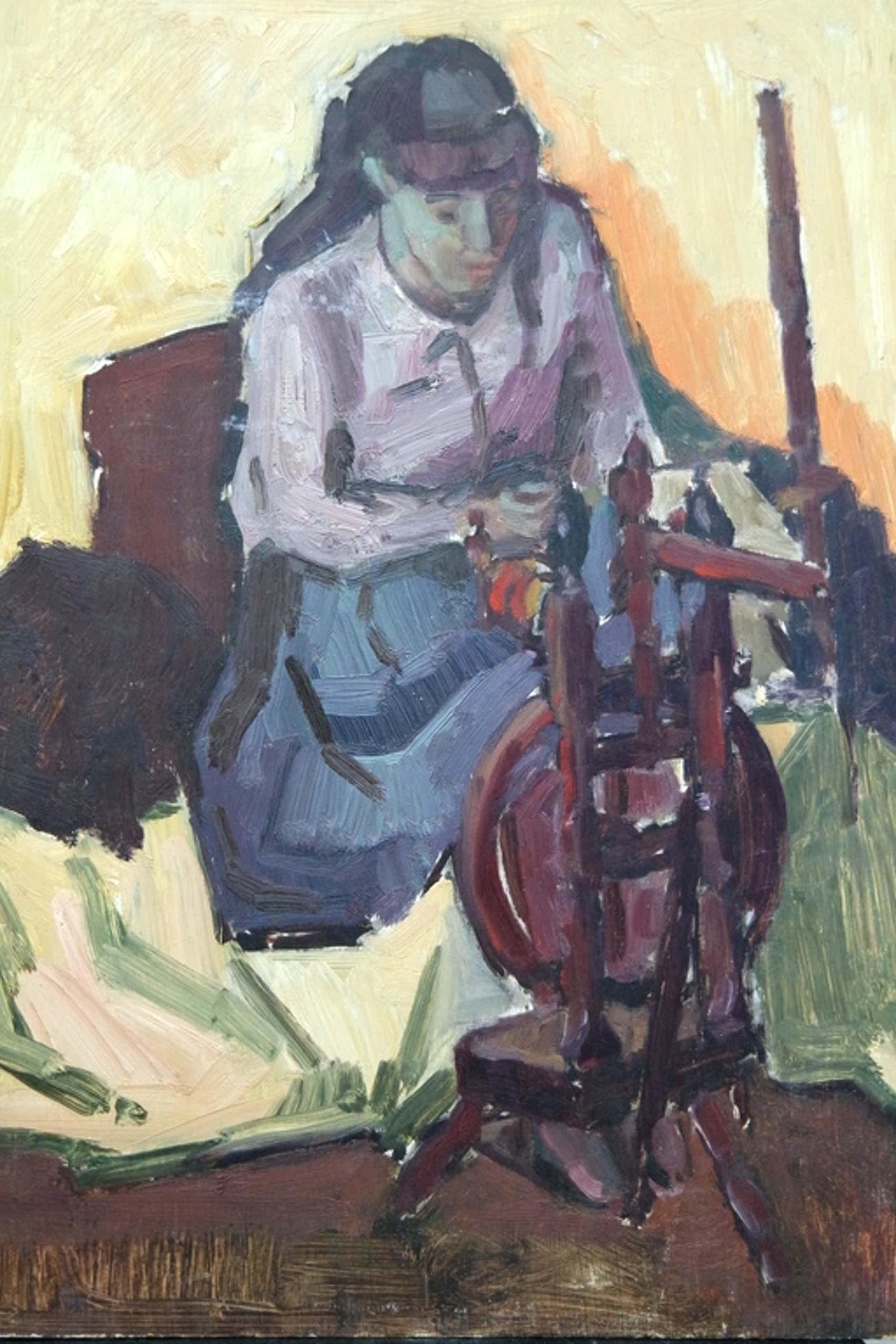 Albert van DALSUM (1889 - 1971) - olieverf op board - de spinster kopen? Bied vanaf 60!