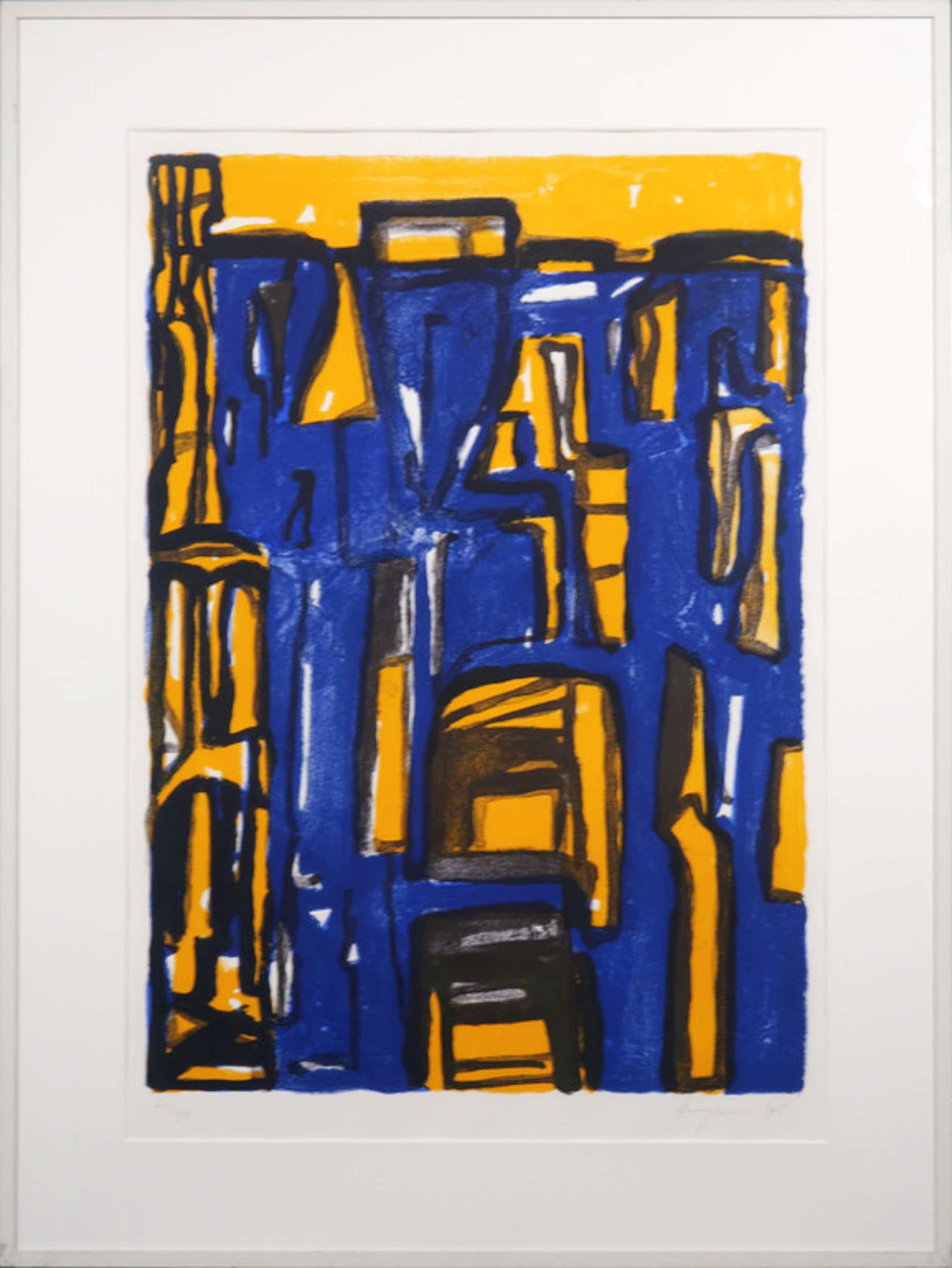 Theo Kuijpers: Litho, Z.T. (blauw/geel) - Ingelijst kopen? Bied vanaf 47!