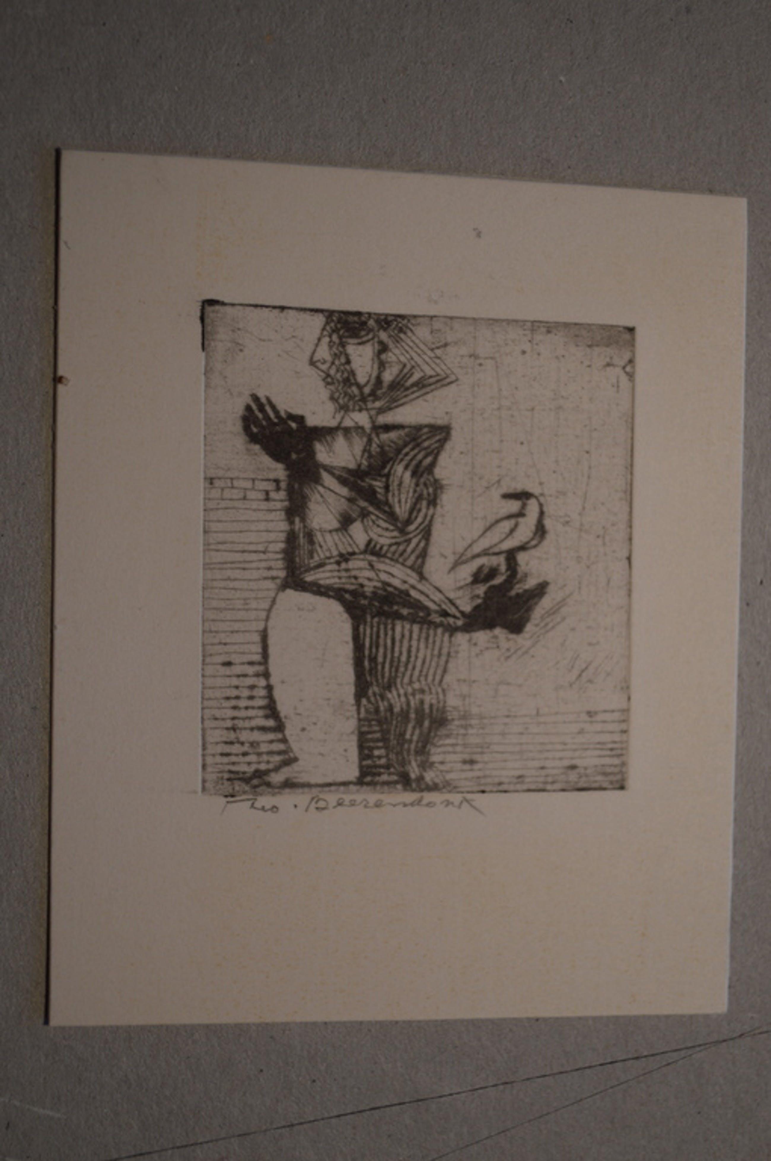 Theo Beerendonk ( 1905-1979) ets, naakt, 12.1971 - 5,5 x 5 (10 x 8 )  kopen? Bied vanaf 15!