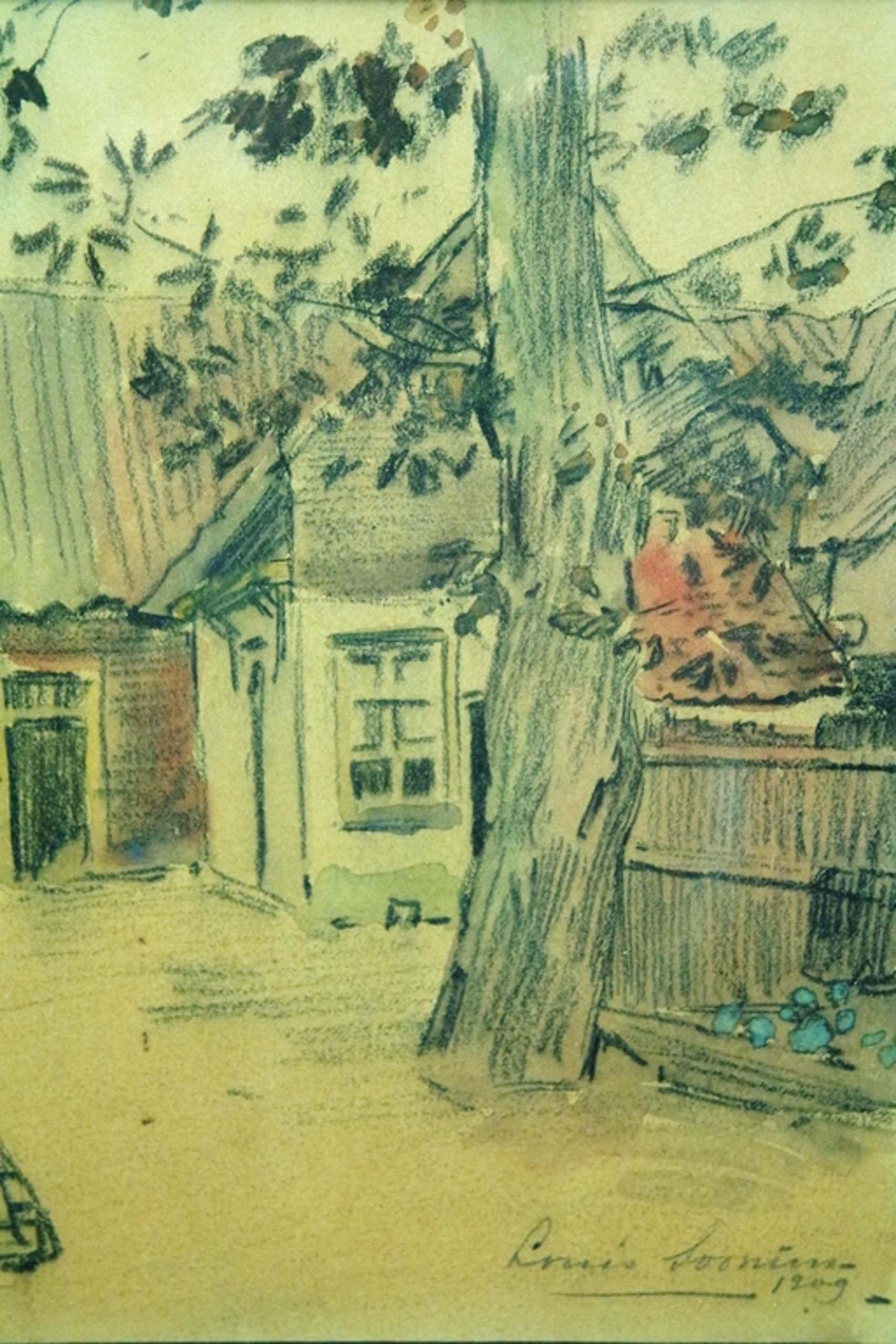 Louis Soonius (1883-1956) - gemengde techniek - boerenerf met boom kopen? Bied vanaf 60!