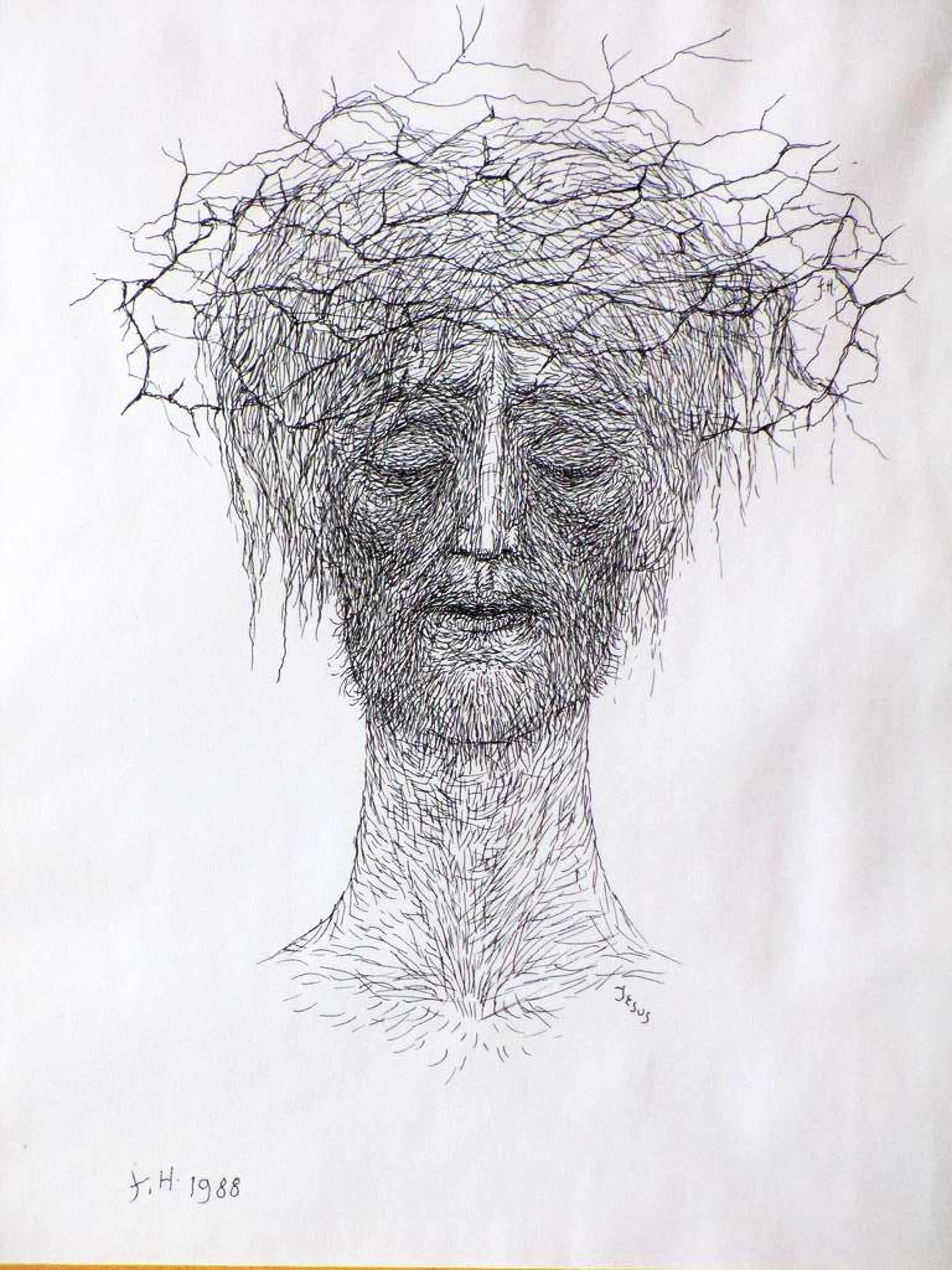 Friso ten Holt, Christus met doornenkroon, Pentekening kopen? Bied vanaf 50!