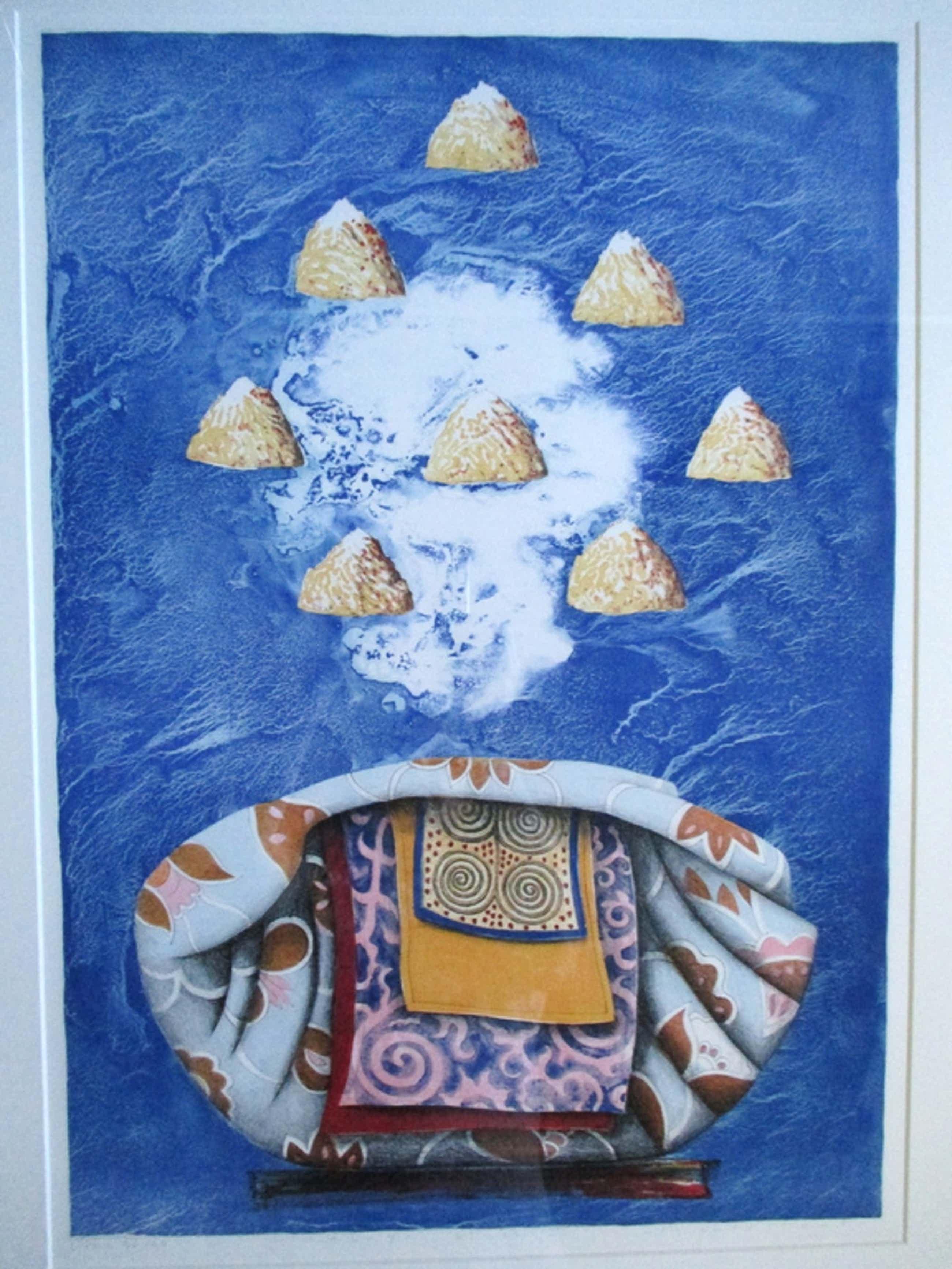 Lon Buttstedt, ingelijste litho 'Himalaya blues V', Barth lijst kopen? Bied vanaf 50!