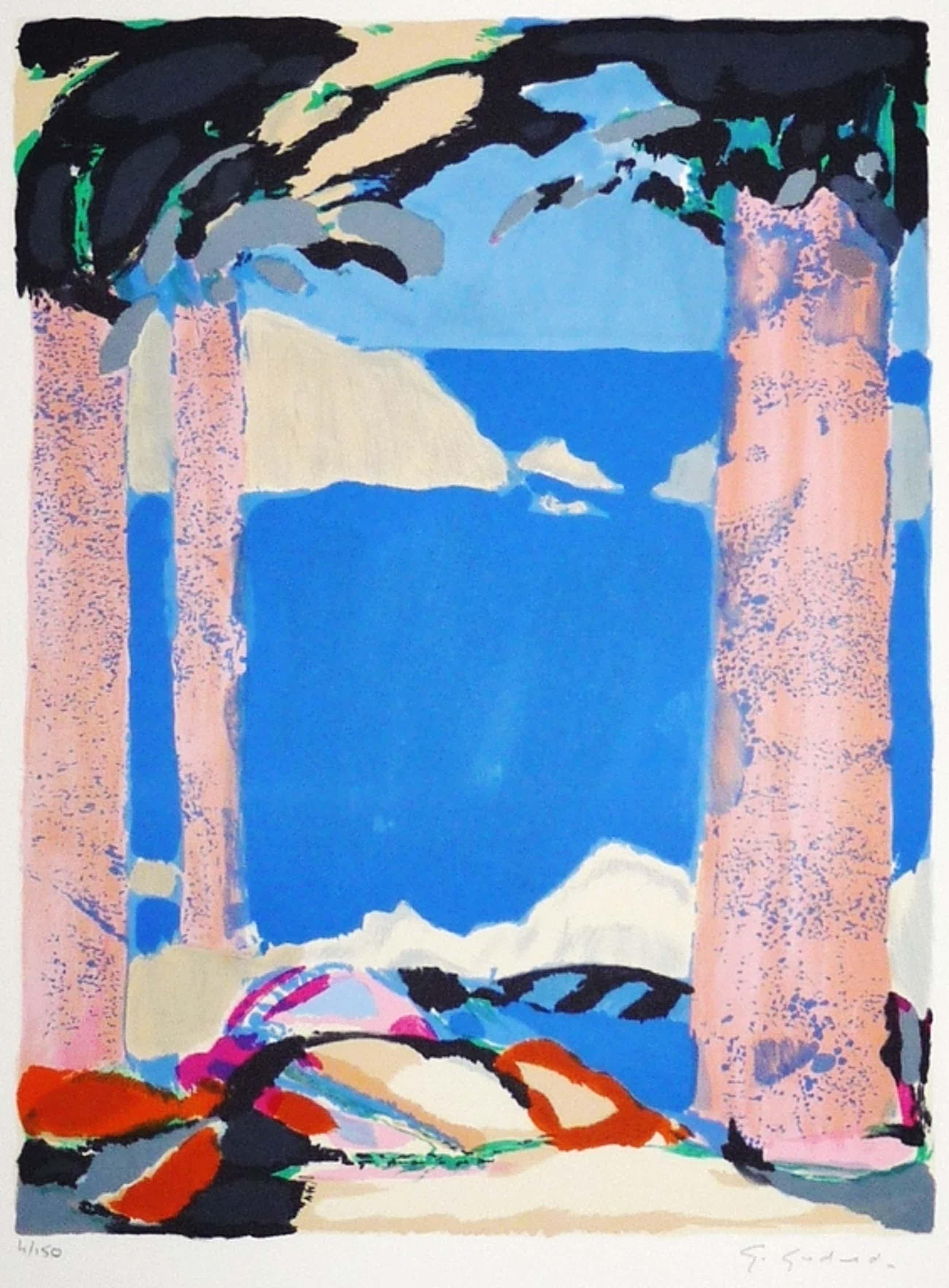 Gabriël Godard: Kleurenlitho, Kustgezicht met bomen, Gesigneerd kopen? Bied vanaf 75!