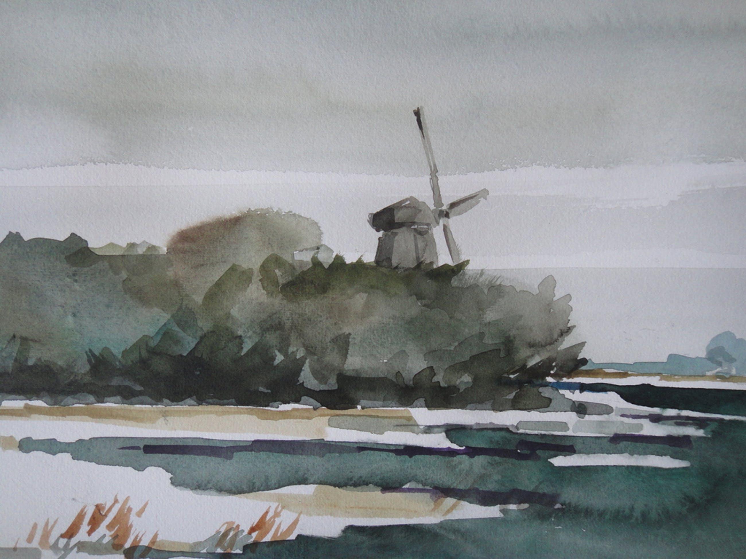Bob (Petrus Theodorus) Immink, aquarel, polder te Waterland kopen? Bied vanaf 75!