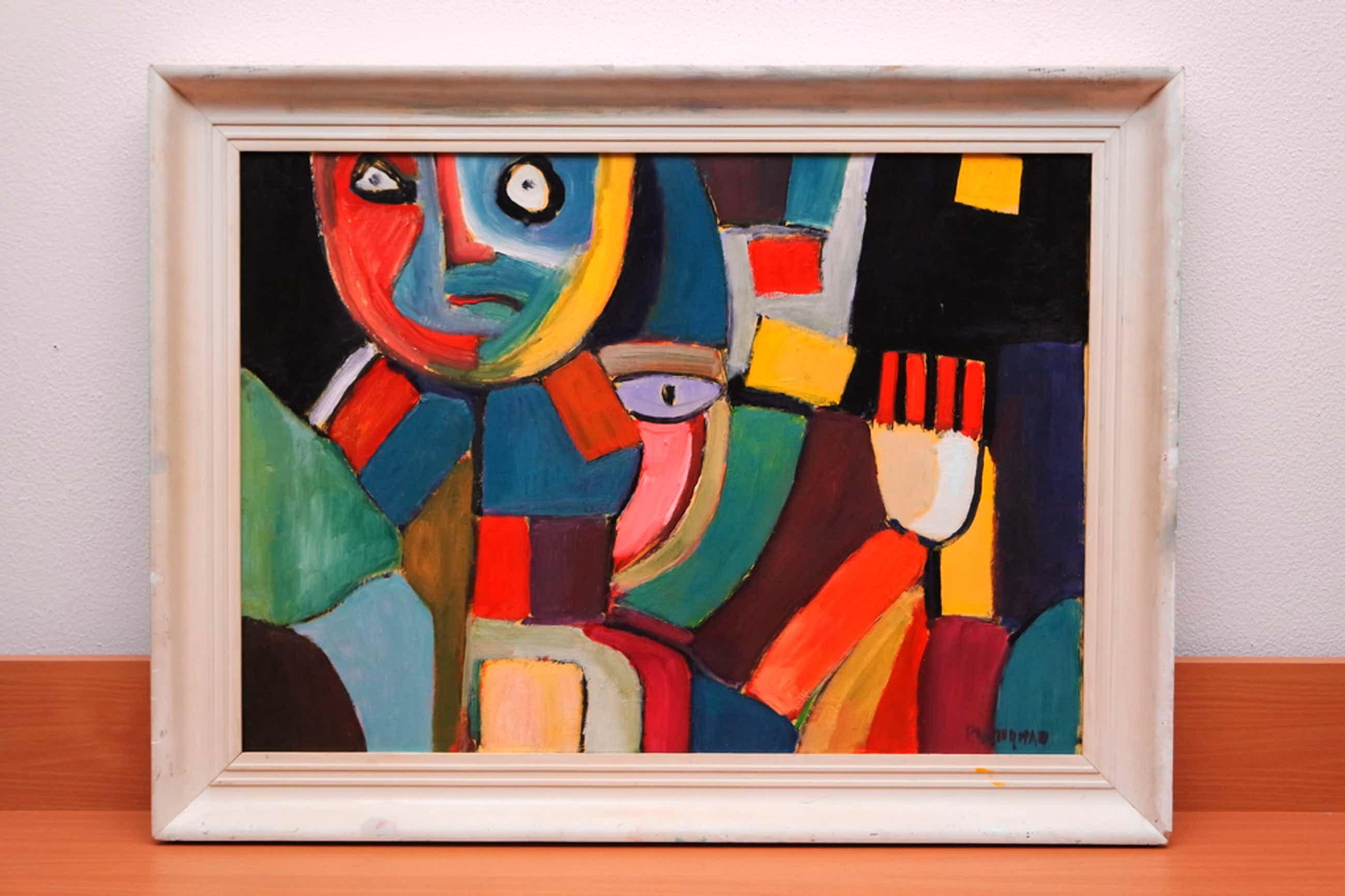 Piet Wiegman (II) (1930-2008) - olieverf op board - abstractie compositie kopen? Bied vanaf 390!
