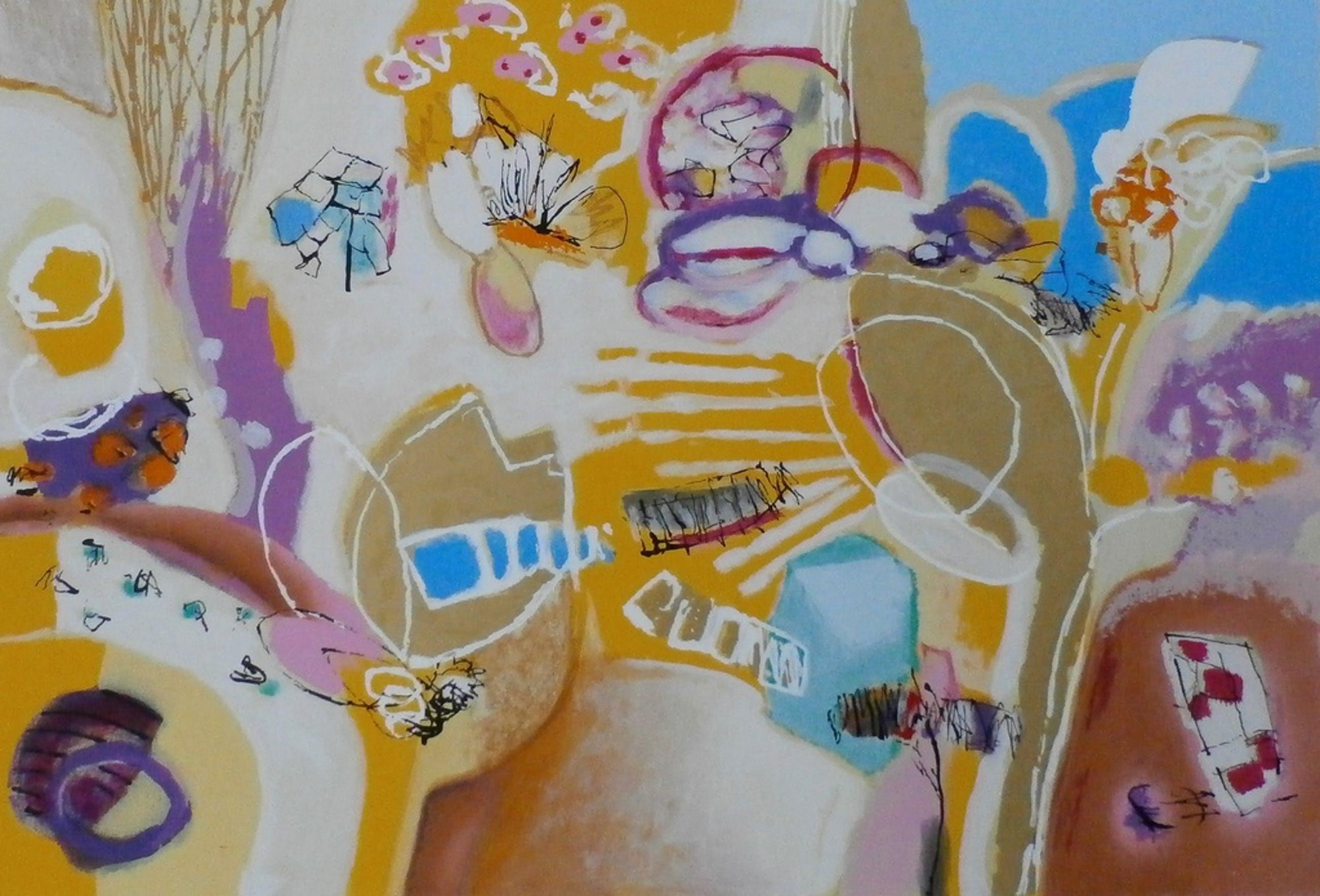 Anneke Peereboom - Grote kleurrijke zeefdruk: Au septième ciècle kopen? Bied vanaf 75!