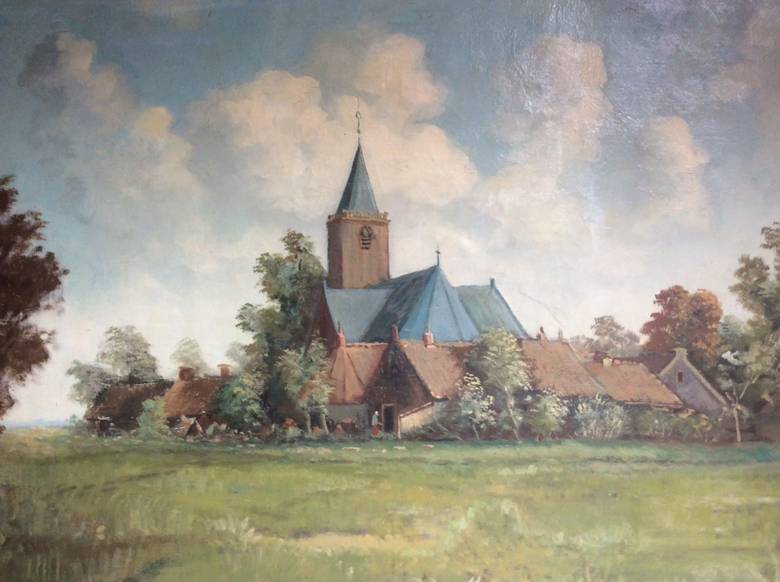 "Jan Hendrik Frans Holle 1888-1969.      "" Dorpsgezicht"" kopen? Bied vanaf 65!"