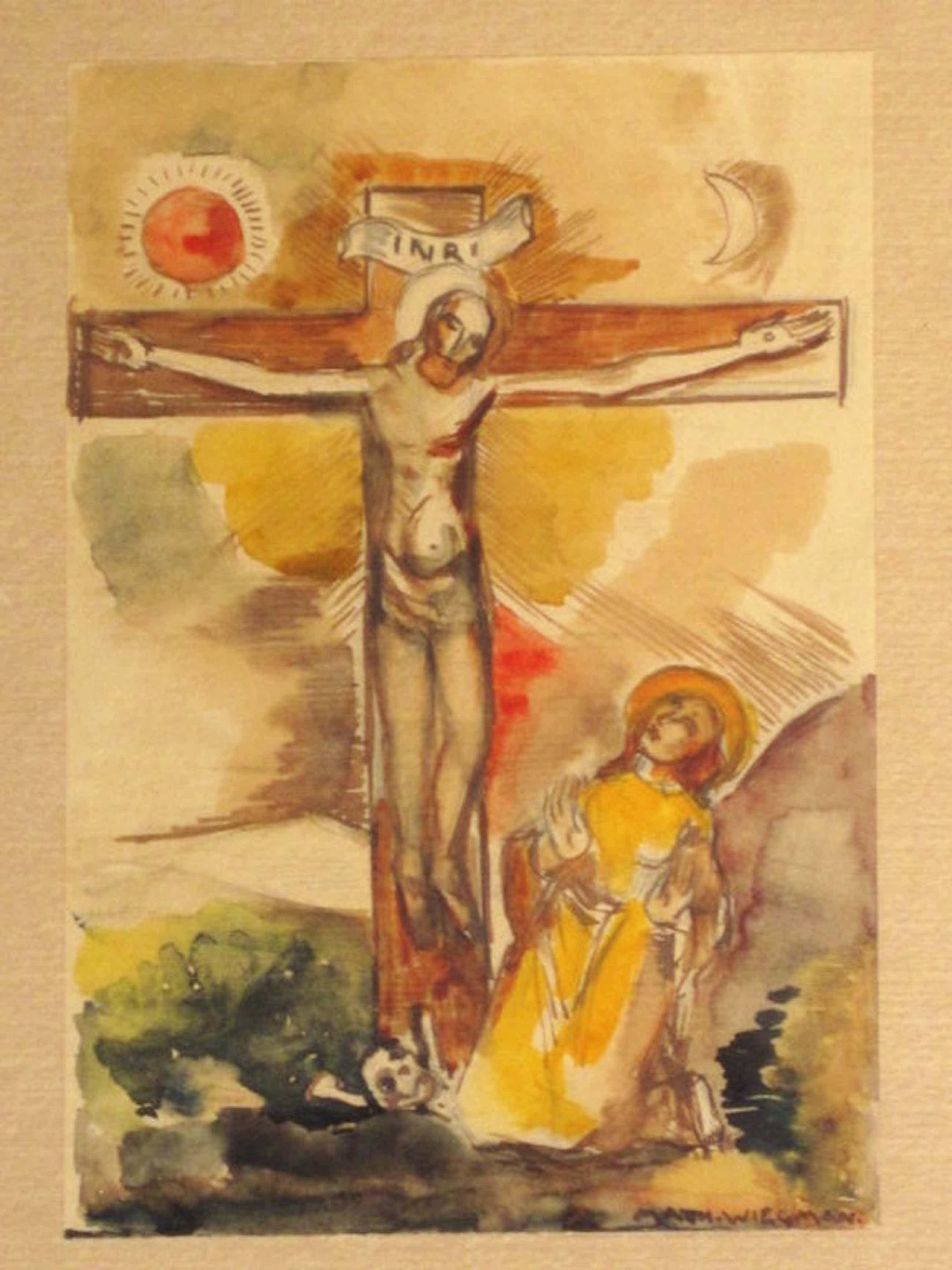 """Matthieu Wiegman 1886-1971 Bergense School 1940 aquarel """"kruisiging"""" gesigneerd  kopen? Bied vanaf 100!"""