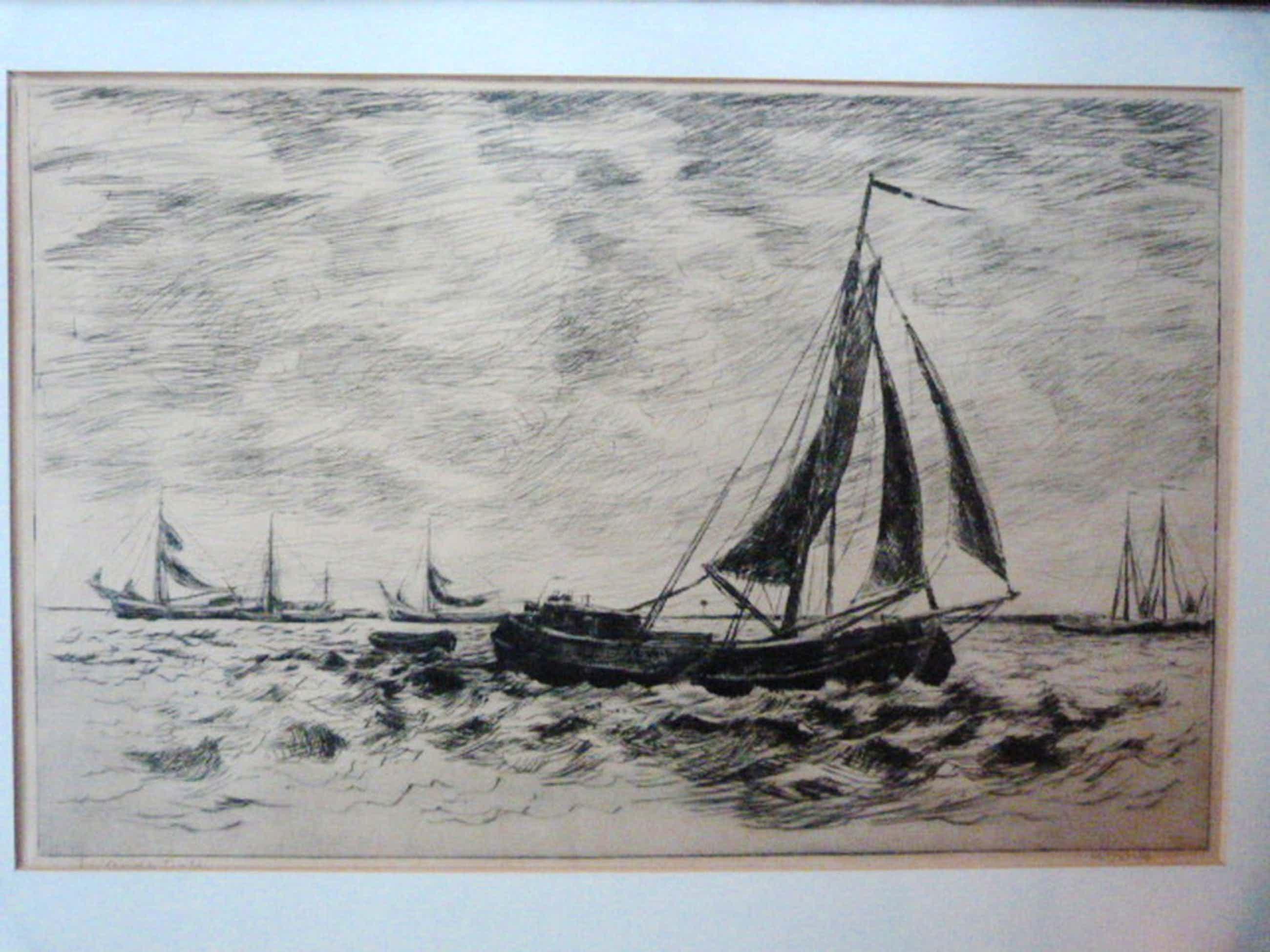Willem Jans Dijk - ( Voor de wind ) Zeilende Tjalk, met links en rechts meerdere kopen? Bied vanaf 80!