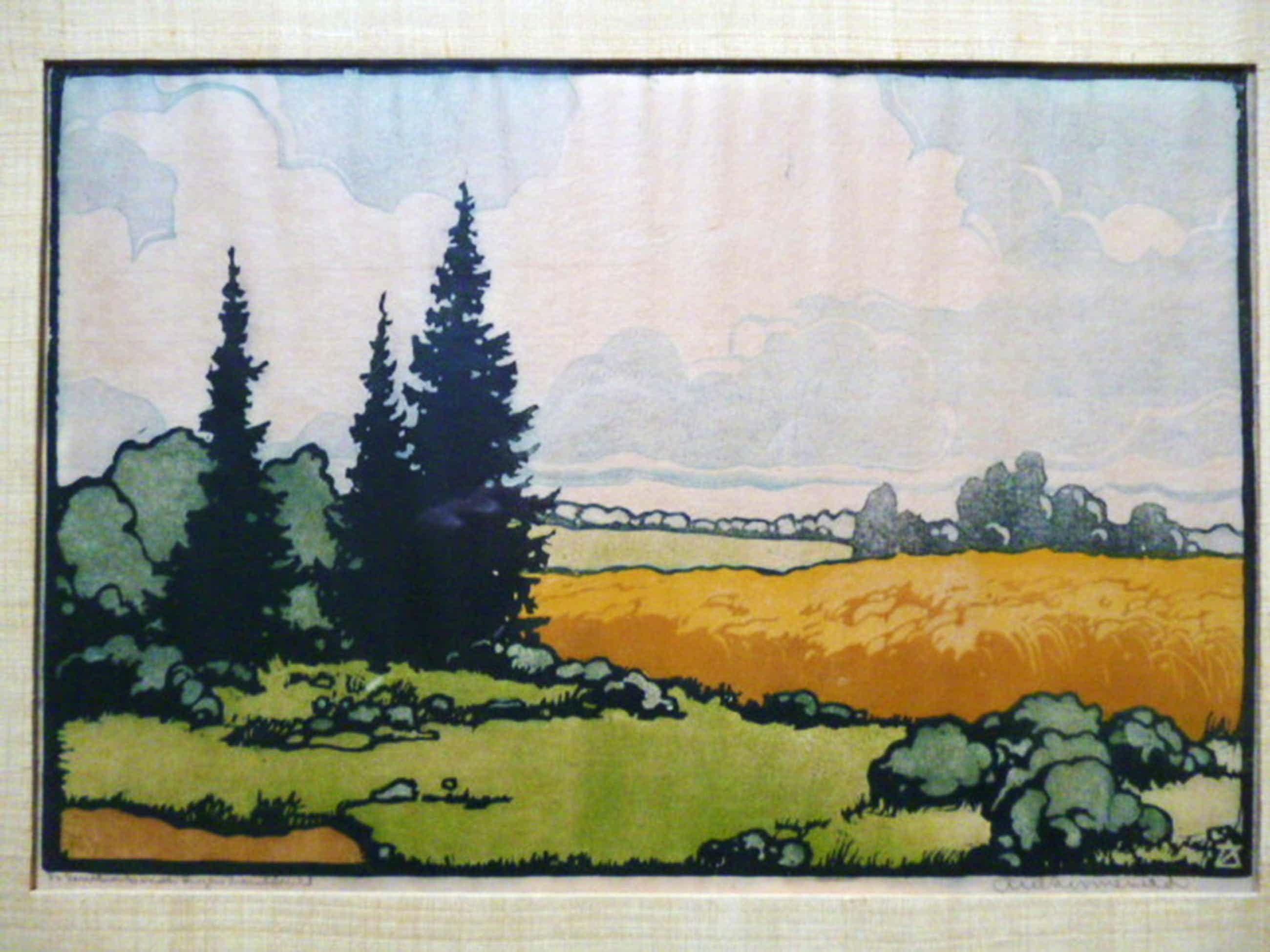 Arie Zonneveld - kleurenhoutsnede - Landschap met sparren kopen? Bied vanaf 310!