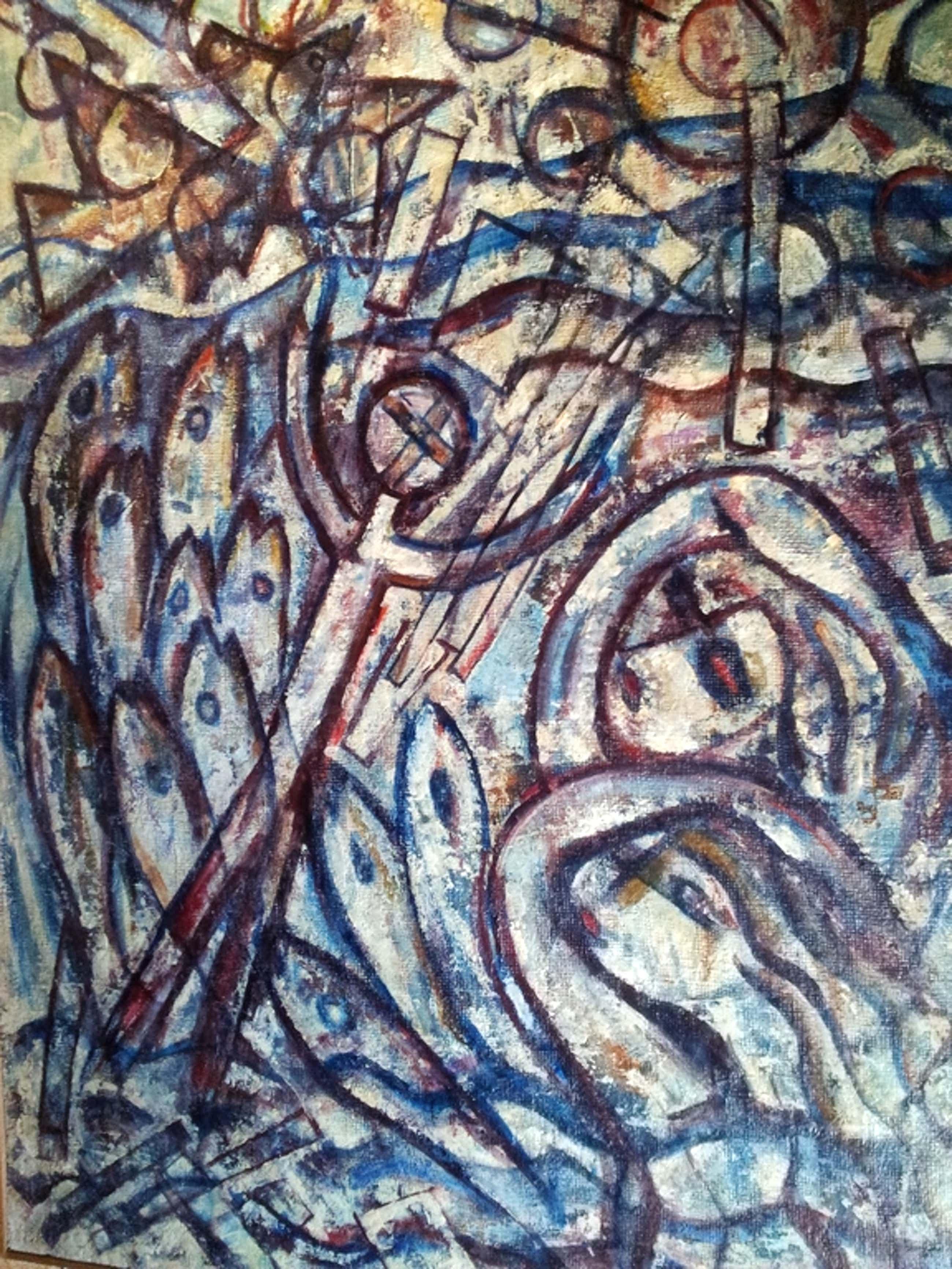 R van de Wint, Visserslatijn 1963, olie paneel 90 x 125 ro gesign/datum 63 kopen? Bied vanaf 350!