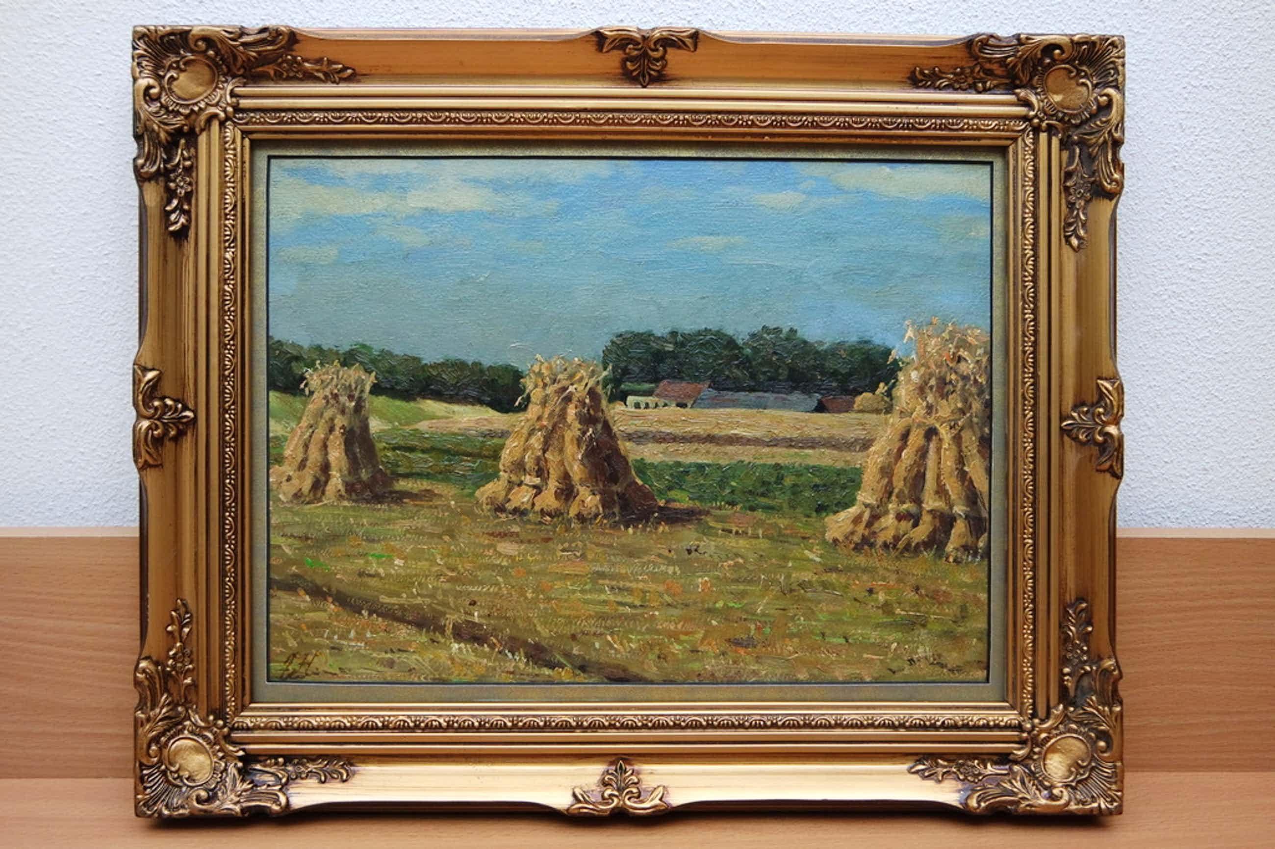 Jan Hendriks (1910) - olieverf op paneel - korenschoven kopen? Bied vanaf 140!