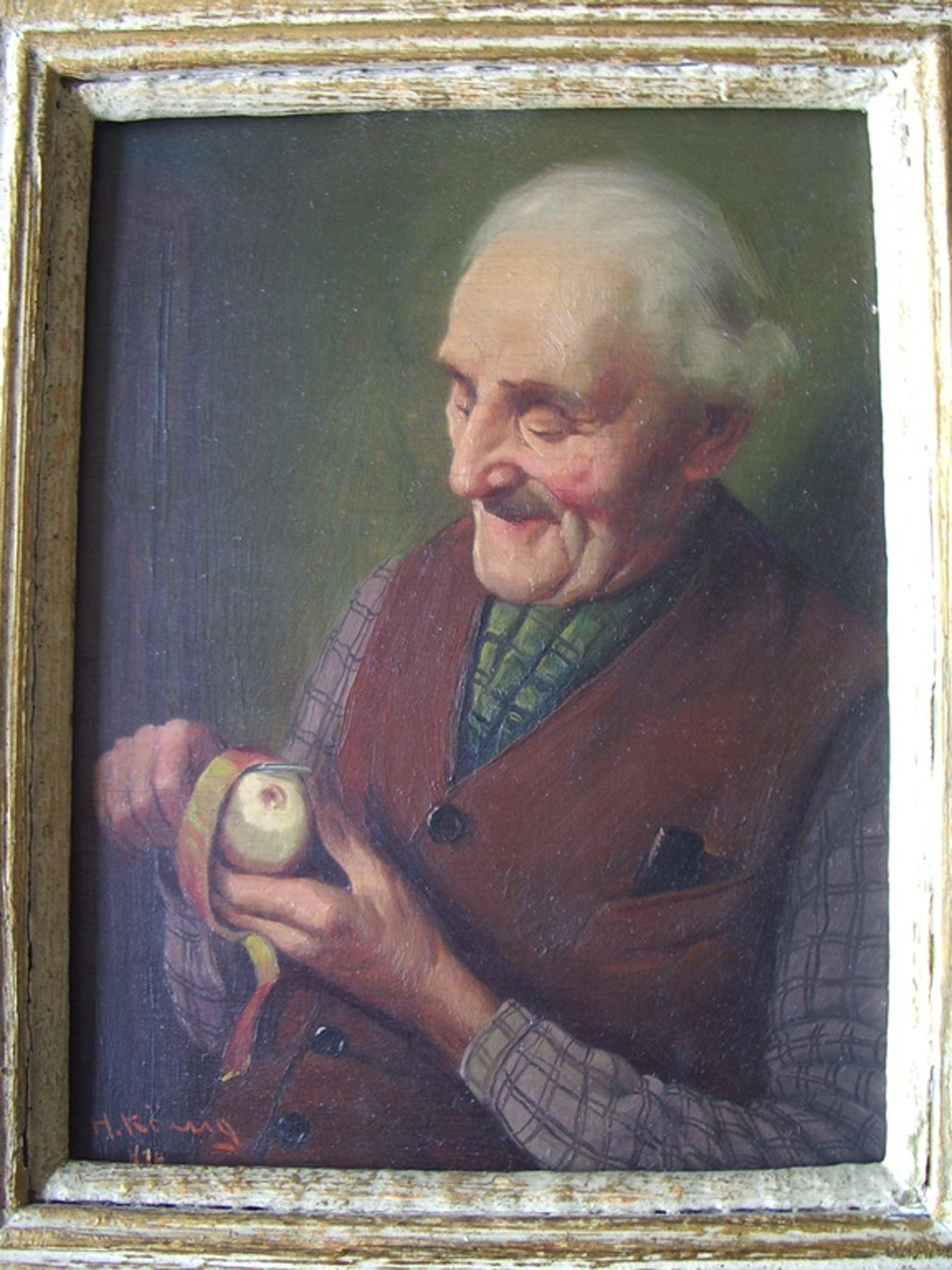 Heinrich König: olieverf op paneel, portret actieve oude heer kopen? Bied vanaf 375!