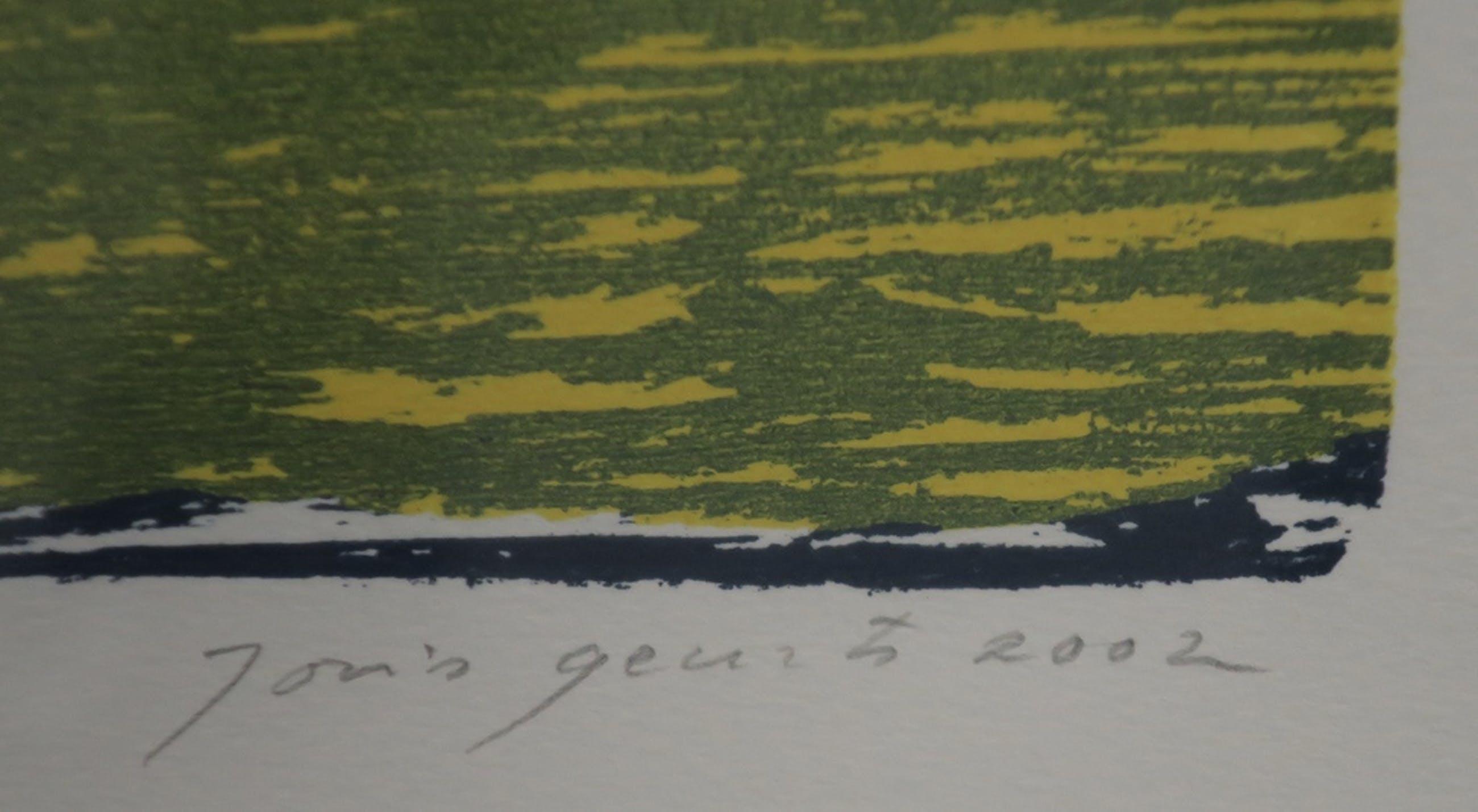 Joris Geurts: Houtsnede, Zonder titel (geel/blauw) - Ingelijst kopen? Bied vanaf 20!