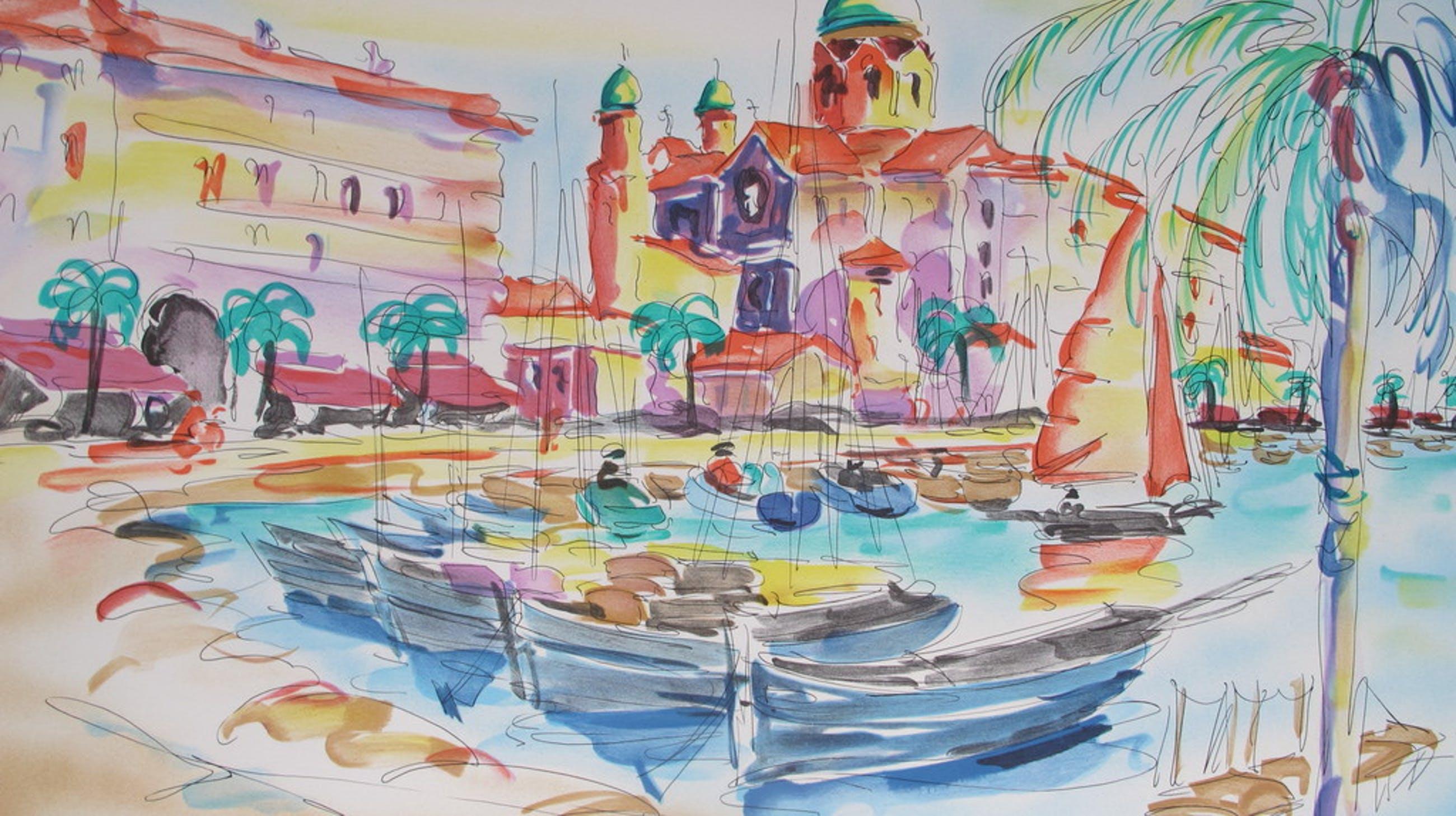 """""""Port De Saint Tropez"""" - kleurenlithografie kopen? Bied vanaf 25!"""