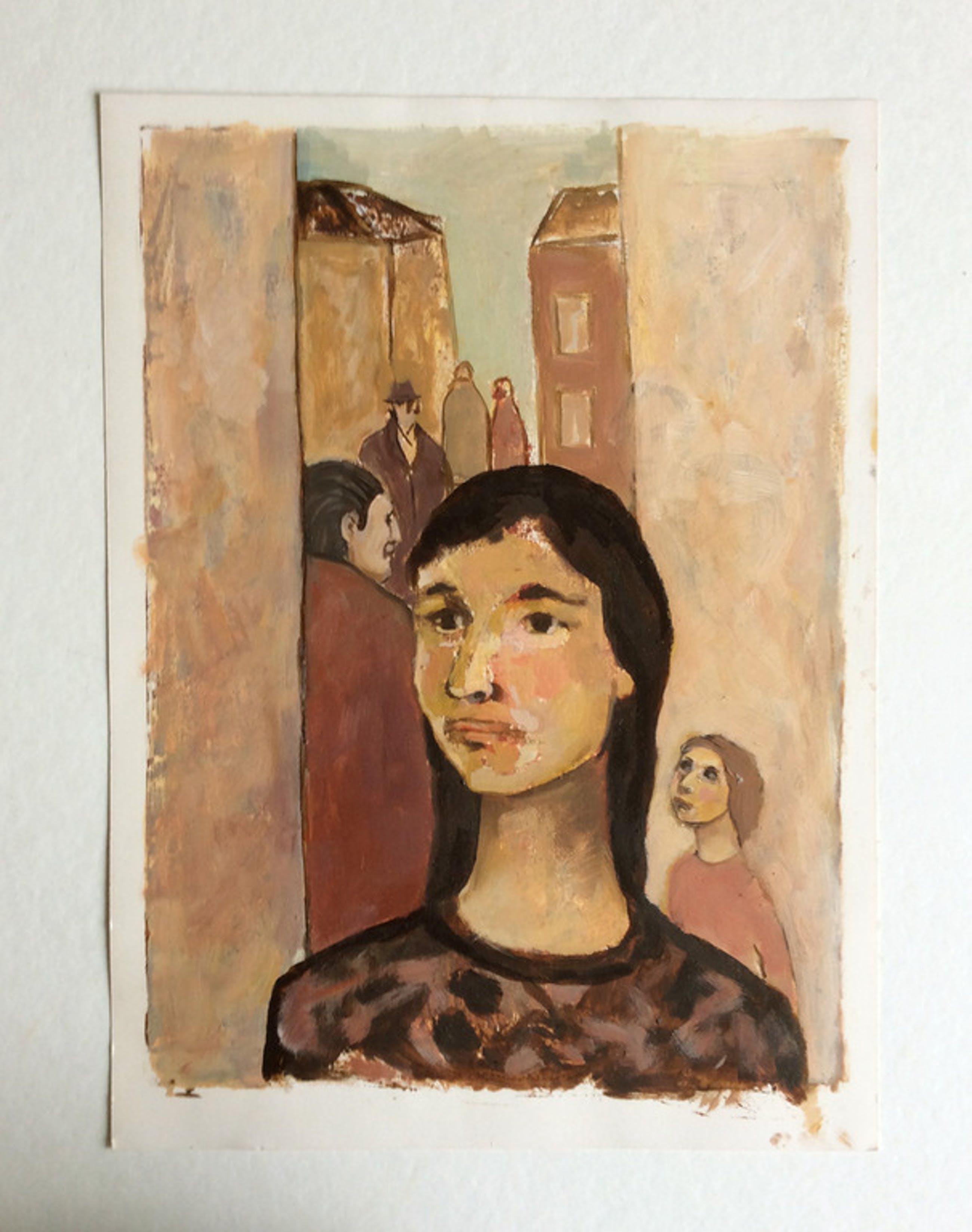 Straatscene - olieverf op karton - Irene Joffroy kopen? Bied vanaf 50!