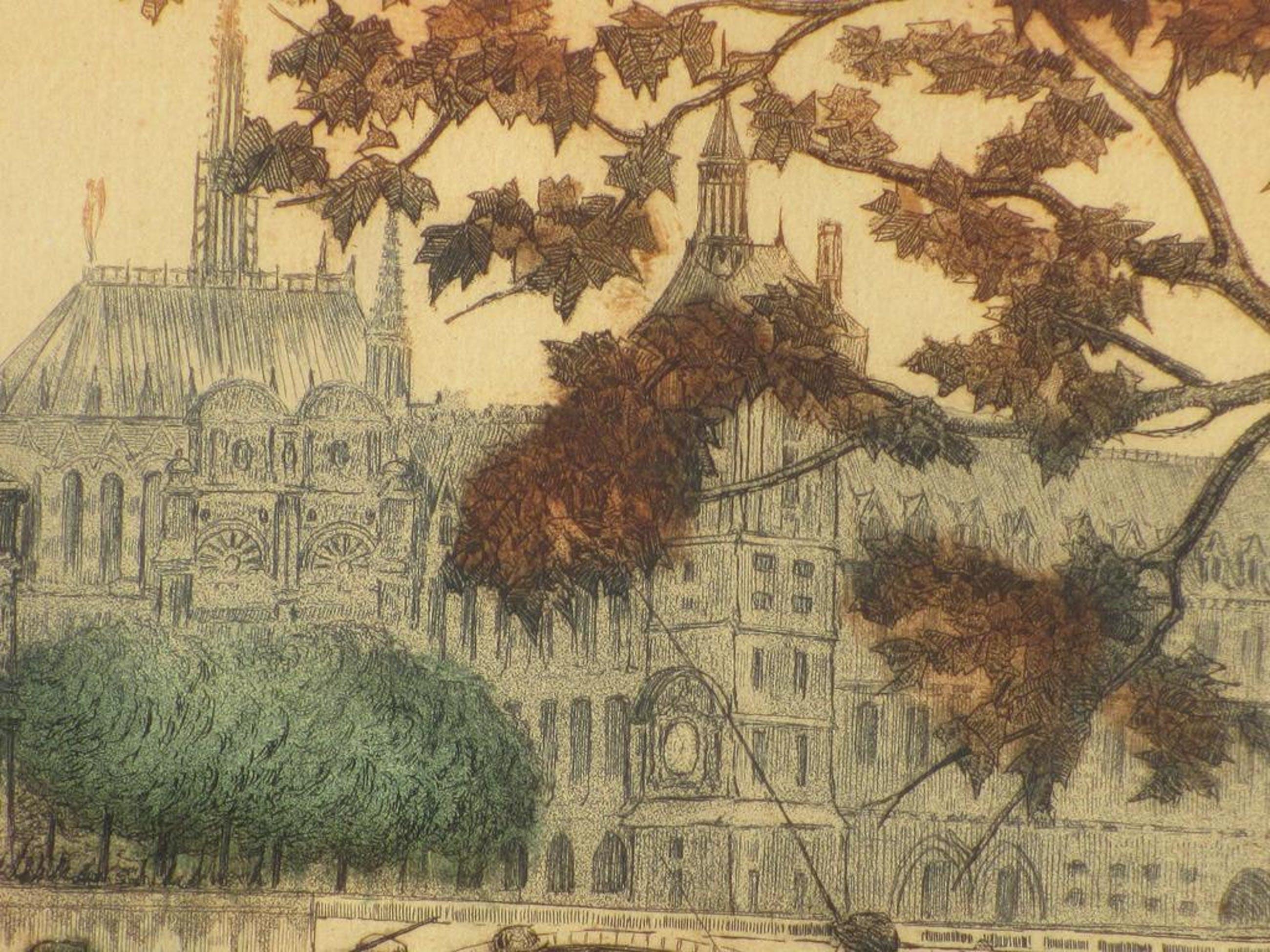 Carlier gesigneerd, Vissers aan de Seine, Kleurets kopen? Bied vanaf 25!