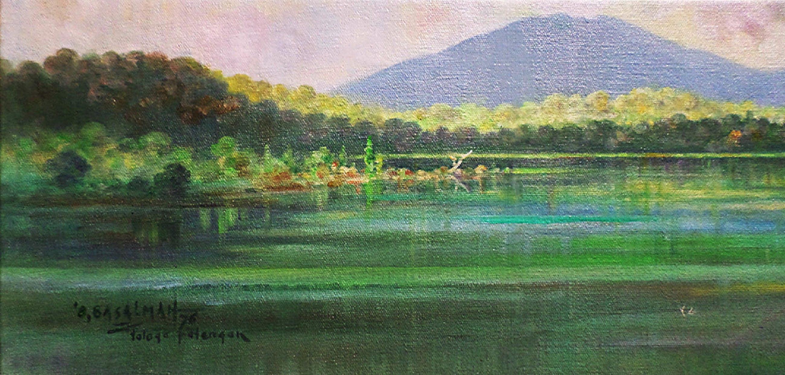 Omar Basalmah - Panorama rond Telaga Patengan, olieverf op doek kopen? Bied vanaf 65!