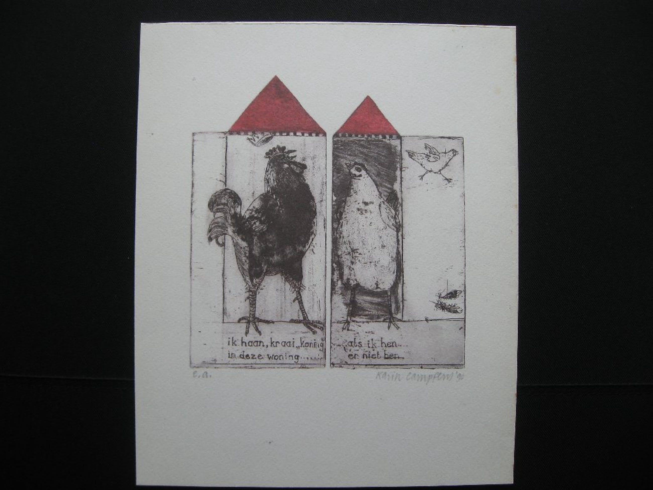 Drie prachtige etsen van Karin Campfens, illustraties van een gezegde kopen? Bied vanaf 25!
