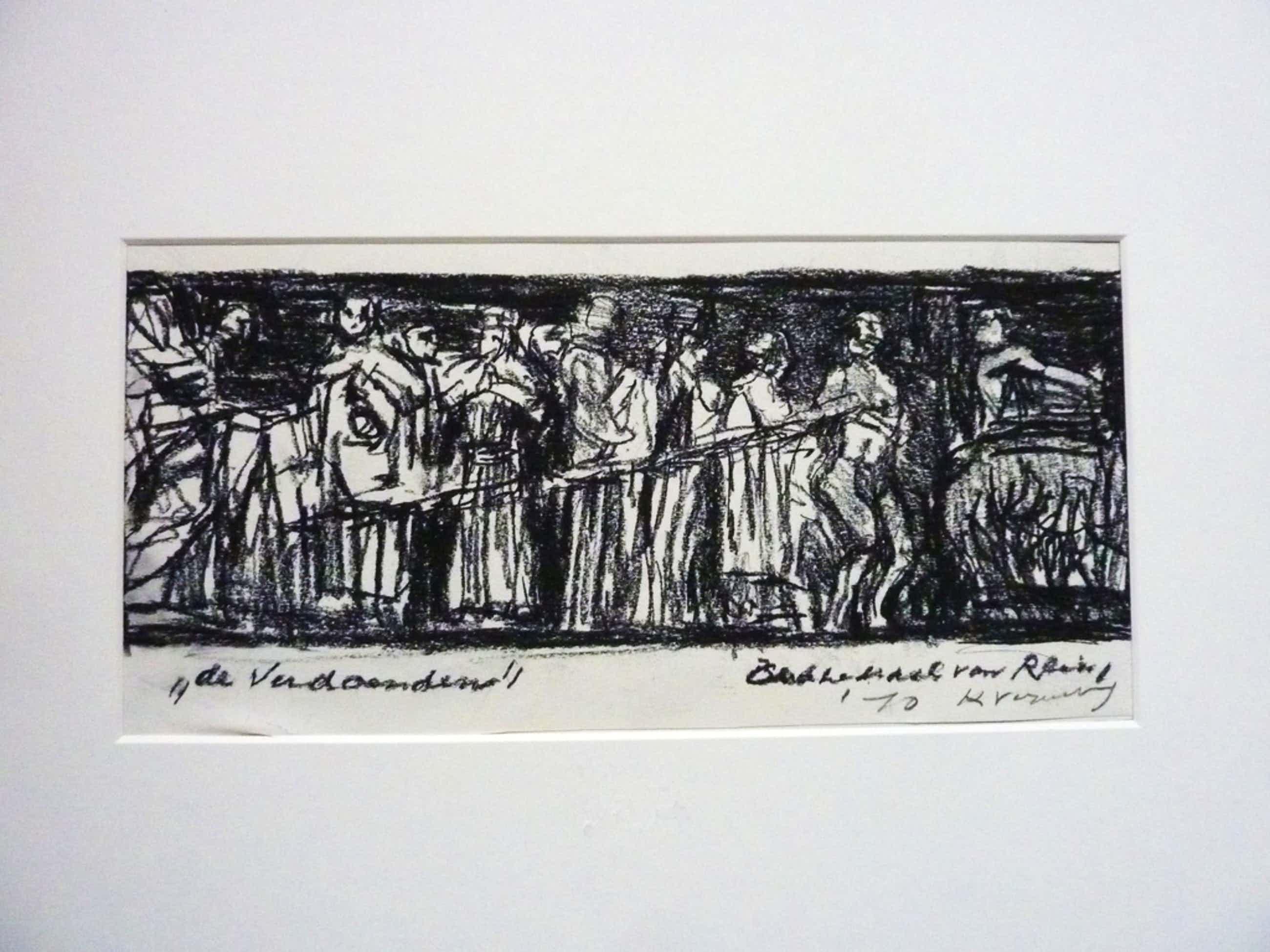 """KEES VERWEY tekening """"De Verdoemden"""" 1970 + poster tentoonstelling kopen? Bied vanaf 150!"""
