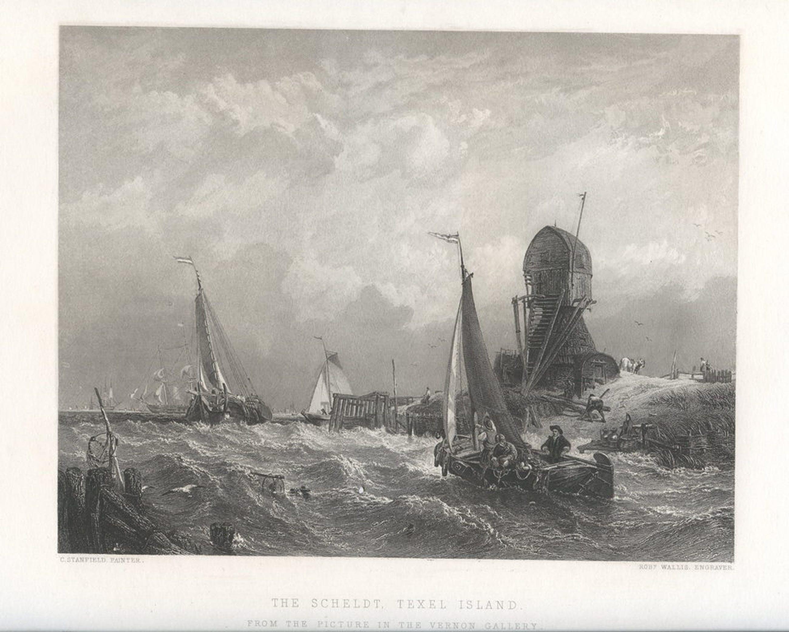 """Clarkson Frederick Stanfield """"De Schelde - Texel""""Prachtige maritieme prent  kopen? Bied vanaf 30!"""