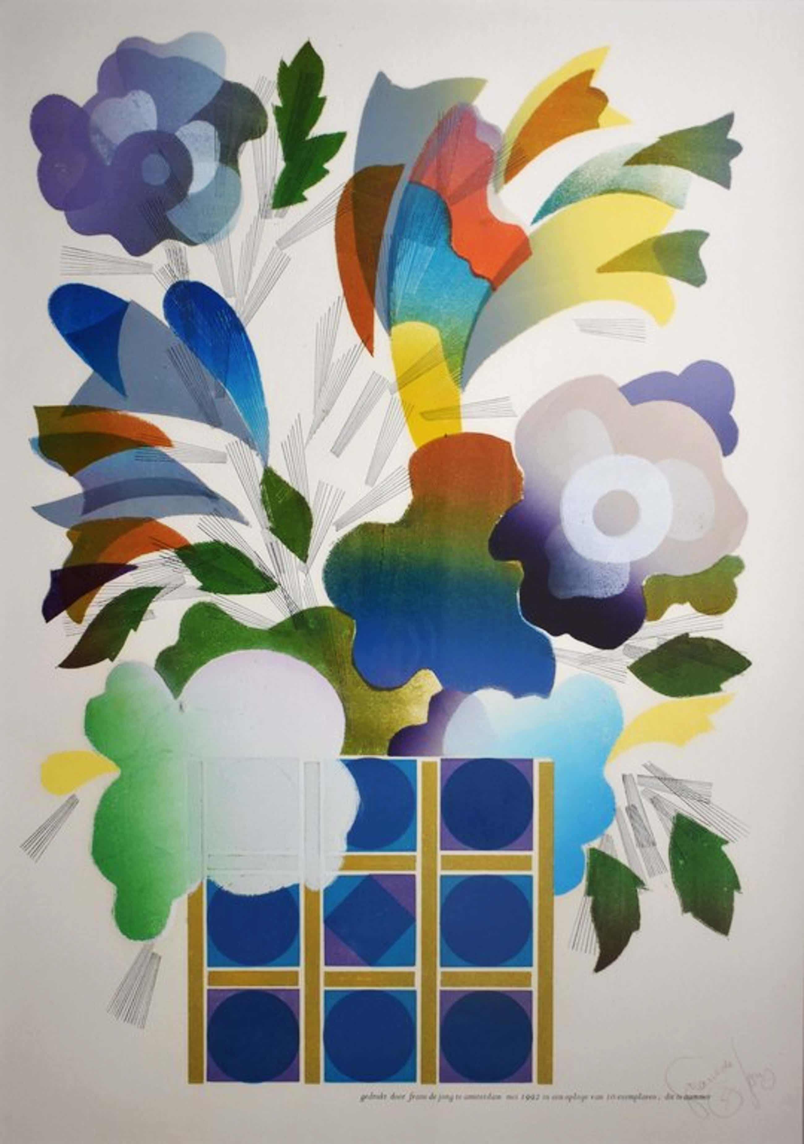 Frans de Jong , kleuren litho, bloemenvaas kopen? Bied vanaf 50!