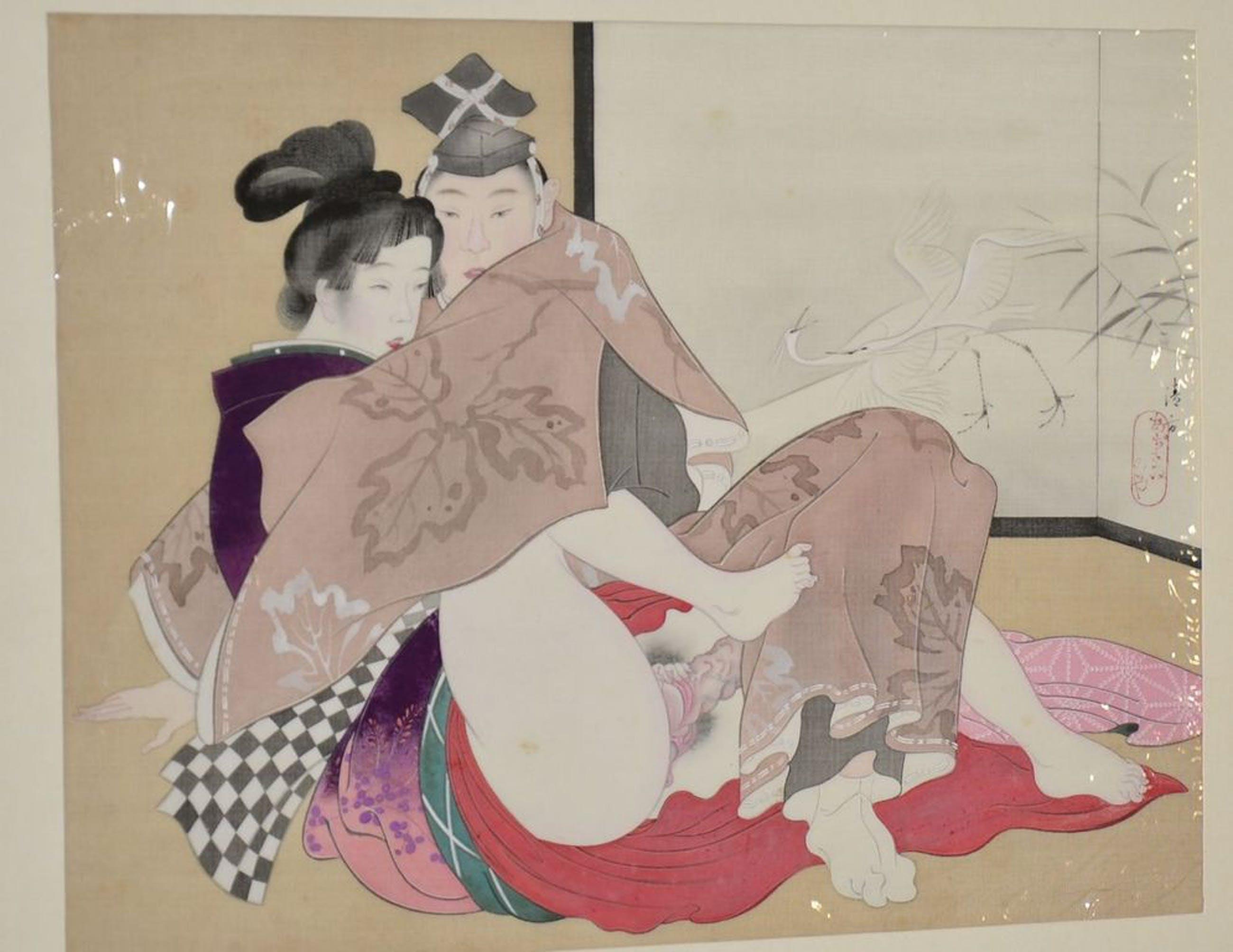 Japanse houtsnede: Erotische voorstelling. kopen? Bied vanaf 1!