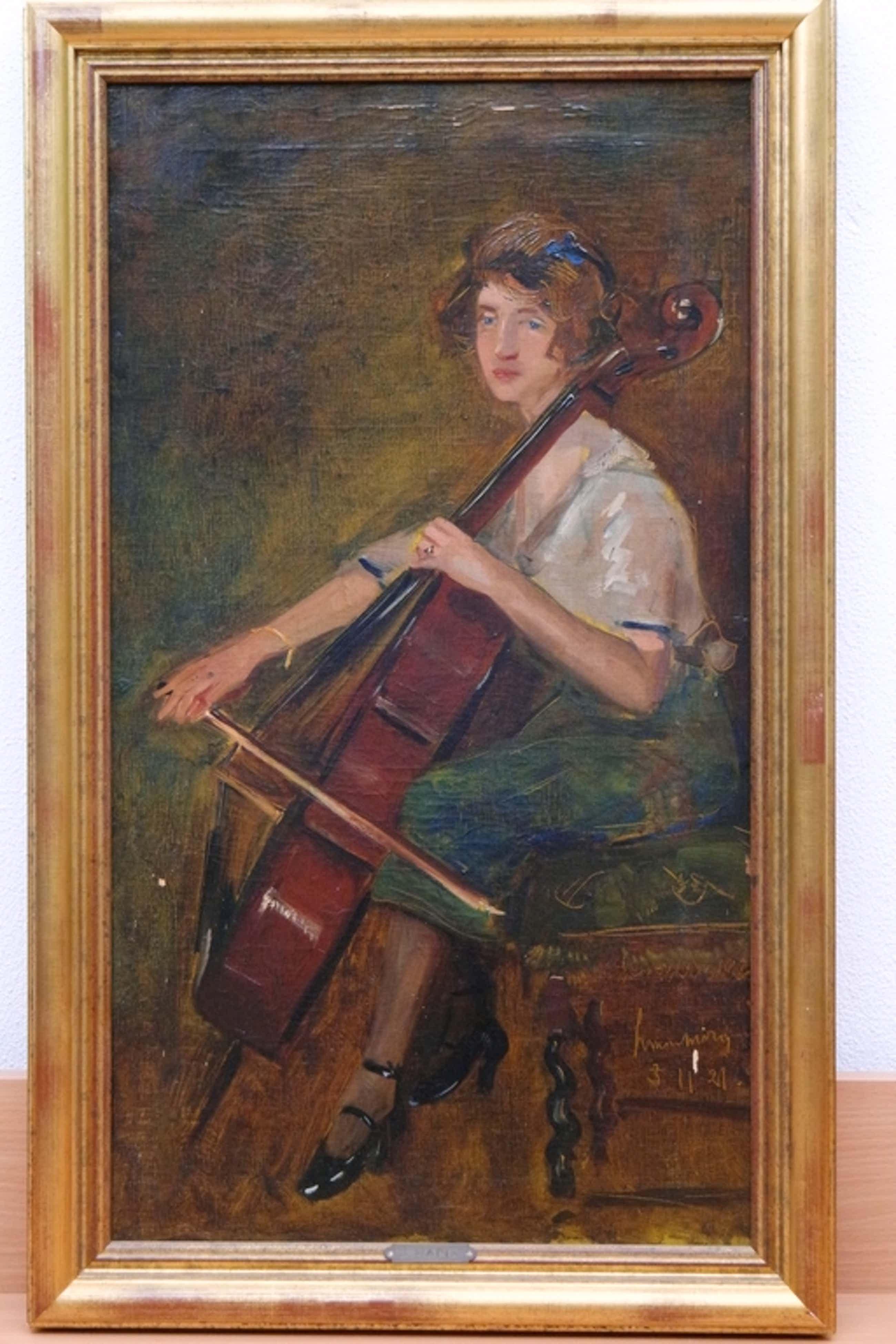 Simon Maris - olieverf op doek - vrouw met cello - gesigneerd r. onder kopen? Bied vanaf 1225!
