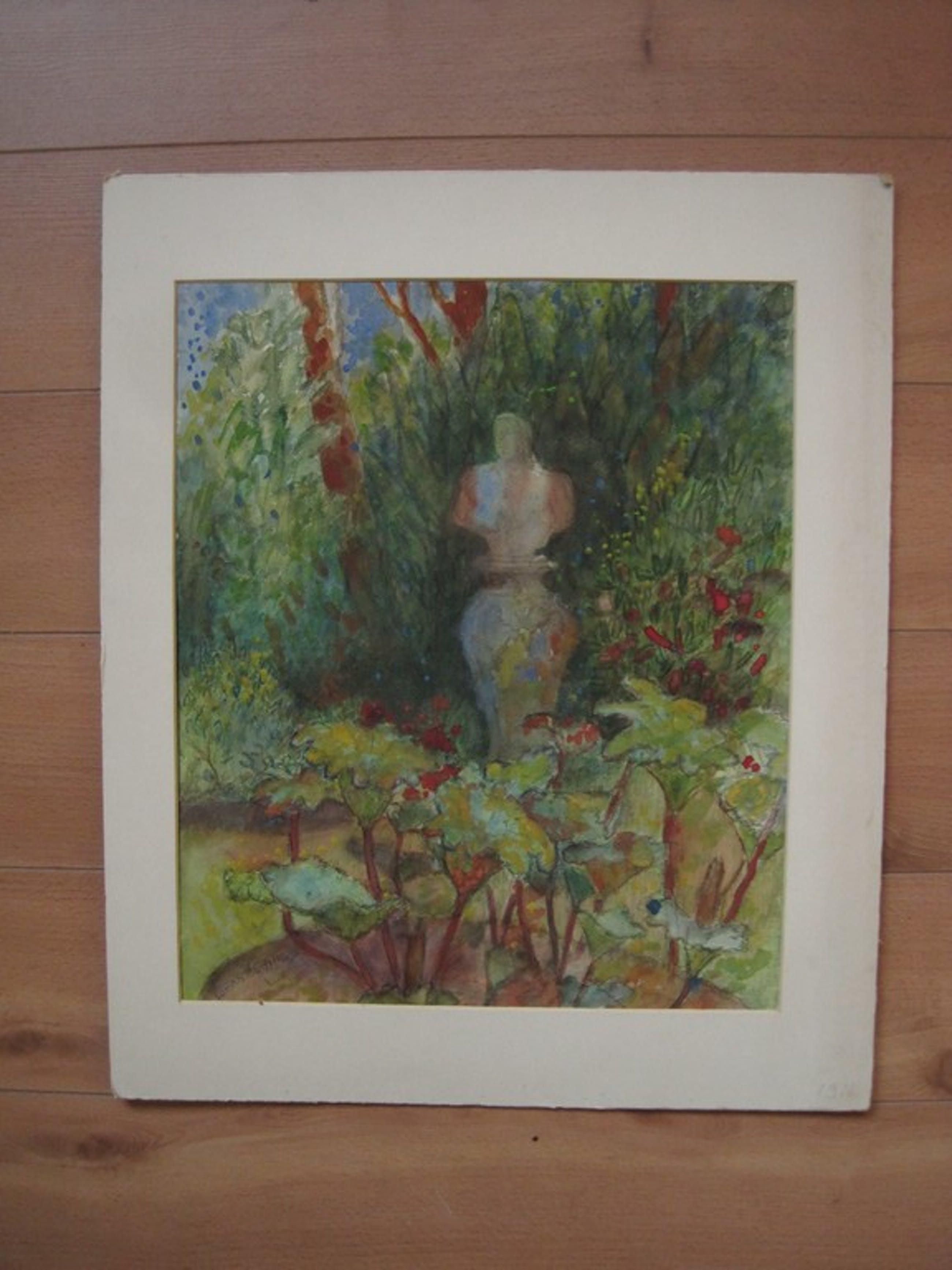 """Johan Buning Bergense School aquarel """"Park met beeld"""" ca 1930  kopen? Bied vanaf 1!"""