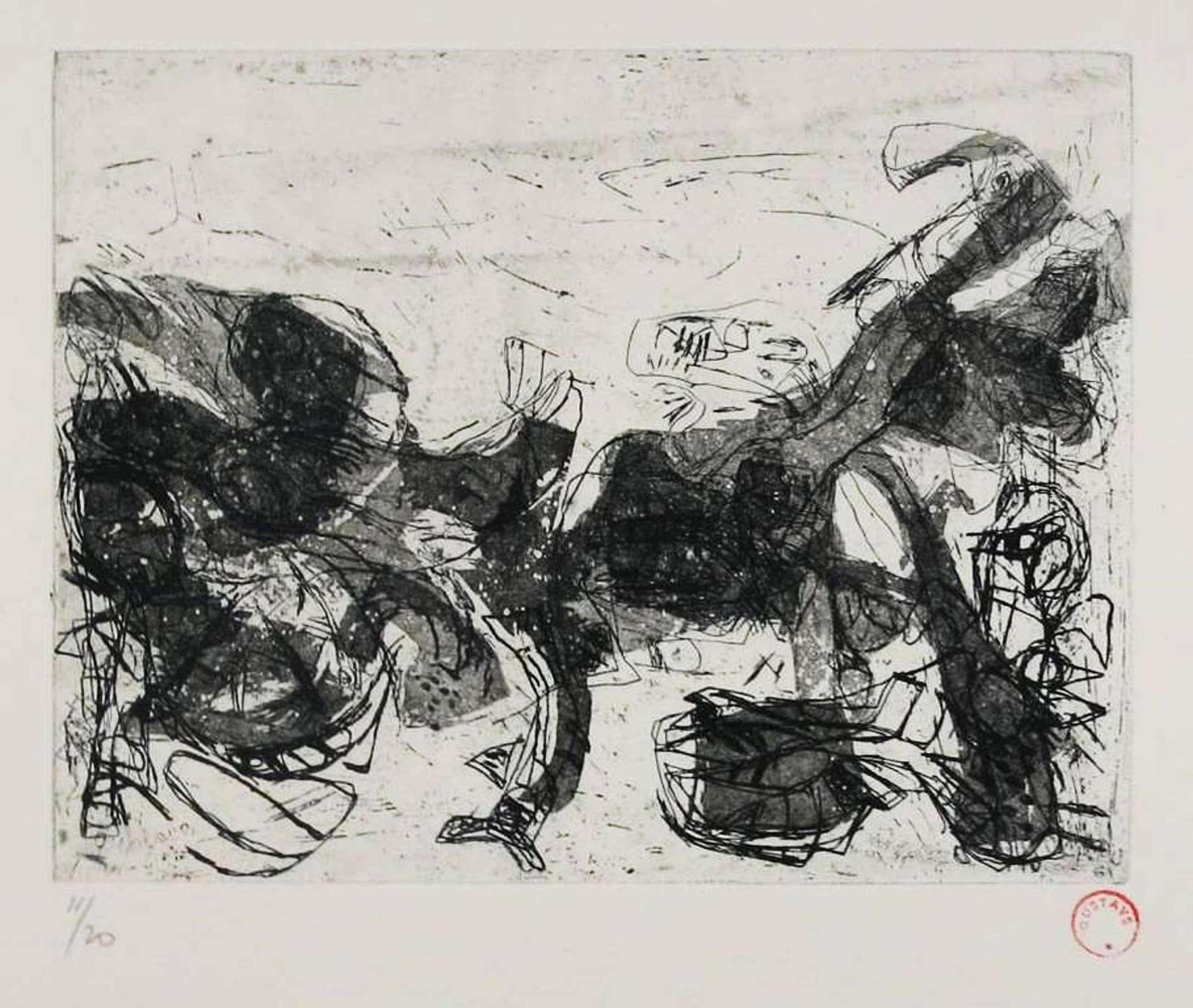 Gustave Asselbergs: Drogenaald en aquatint, Abstracte compositie II kopen? Bied vanaf 160!