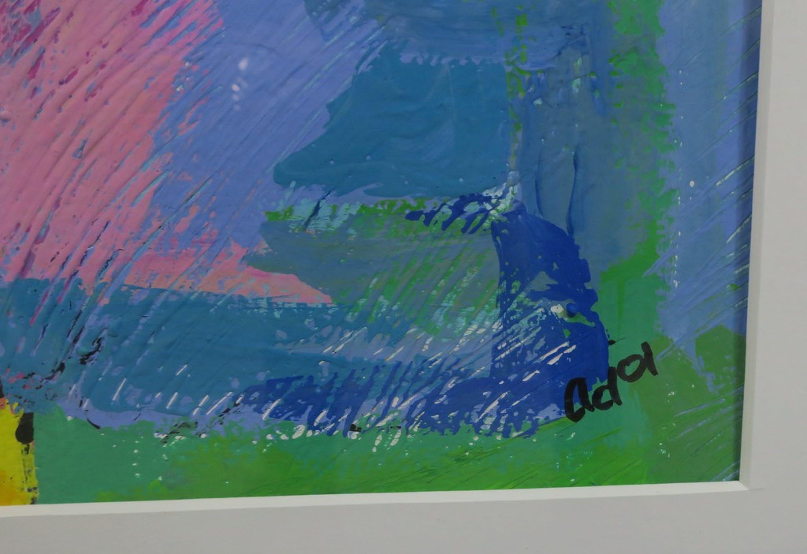 Onbekend gesigneerd: Acryl op papier, Z.T. (2) - Ingelijst kopen? Bied vanaf 1!
