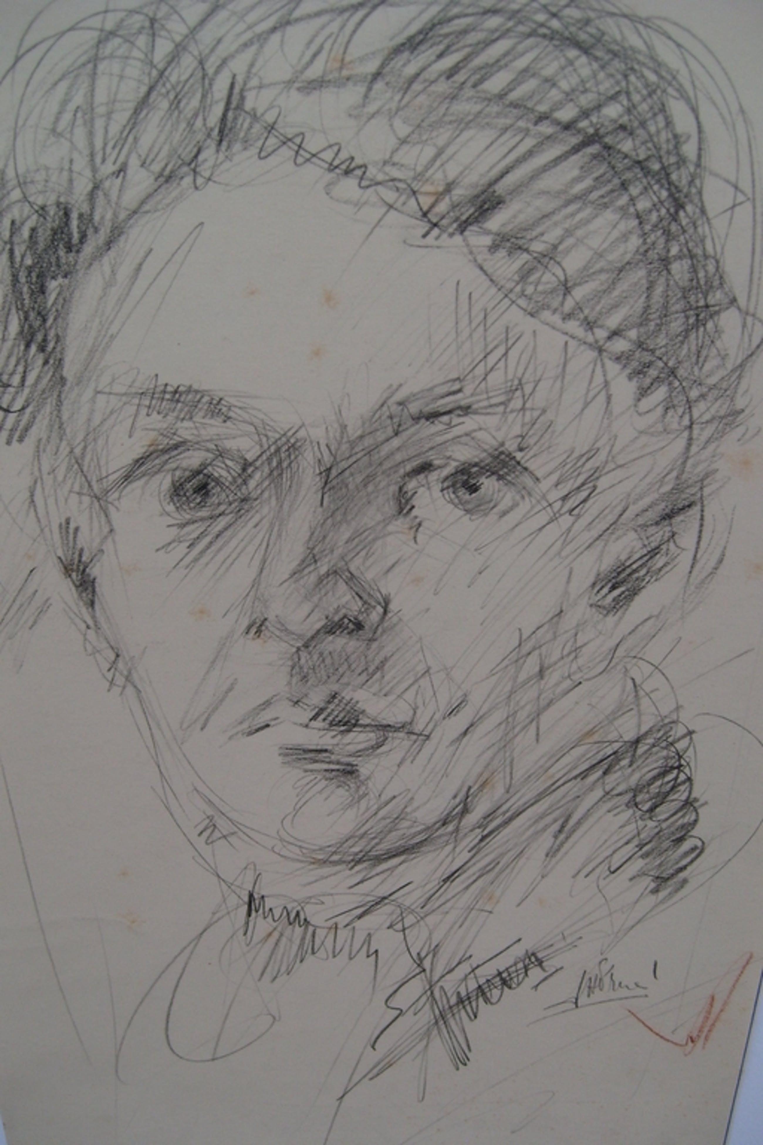 J.H.Frese, getekend, kop van man, r.o. gesigneerd. / 20x30 kopen? Bied vanaf 25!
