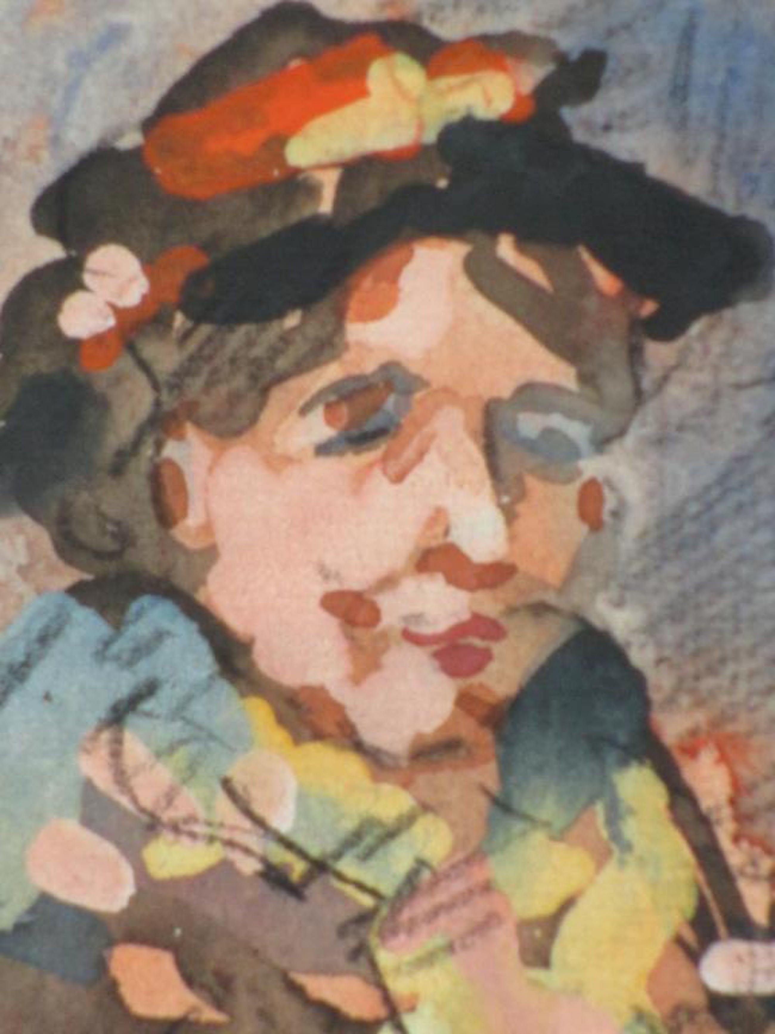 Herman Moerkerk, Vrouw met hoed, Gemengde techniek kopen? Bied vanaf 40!