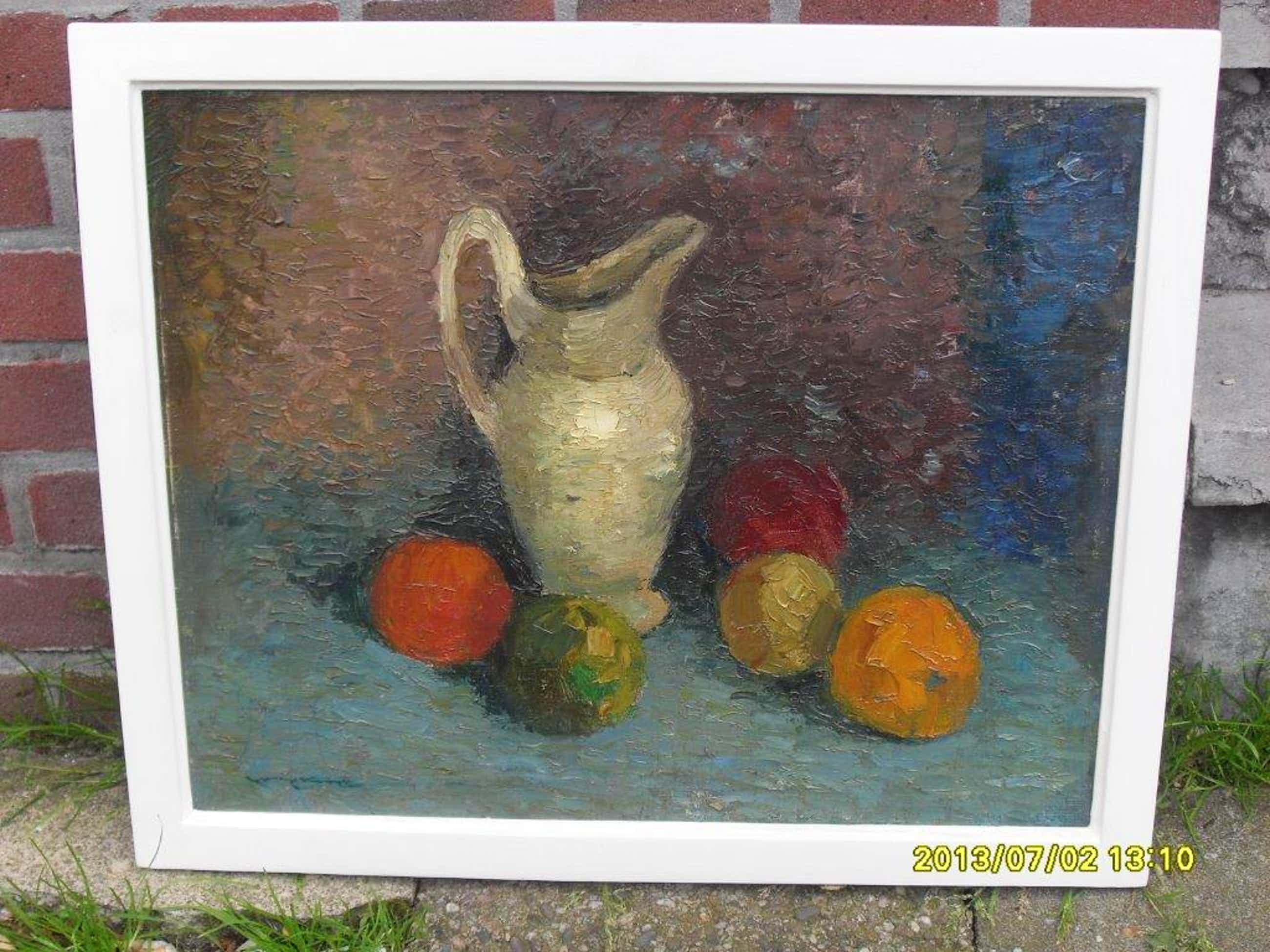 Joop Kropff, olieverf op doek, 'Stilleven met vaas en fruit' kopen? Bied vanaf 75!