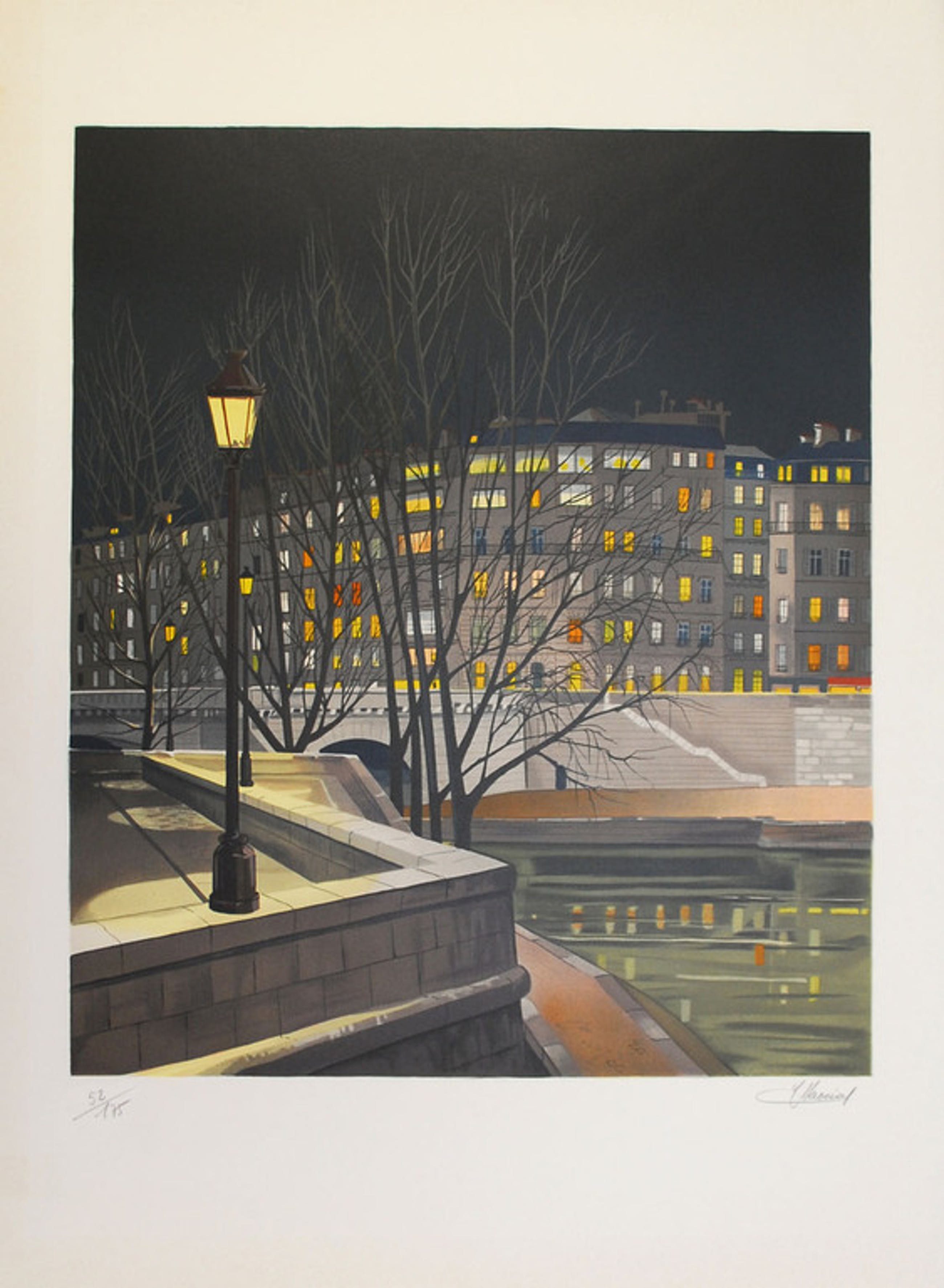"Jean-Luc Lecoindre - ""Au bord du quai"" - kleuren litho - Hand gesigneerd kopen? Bied vanaf 45!"