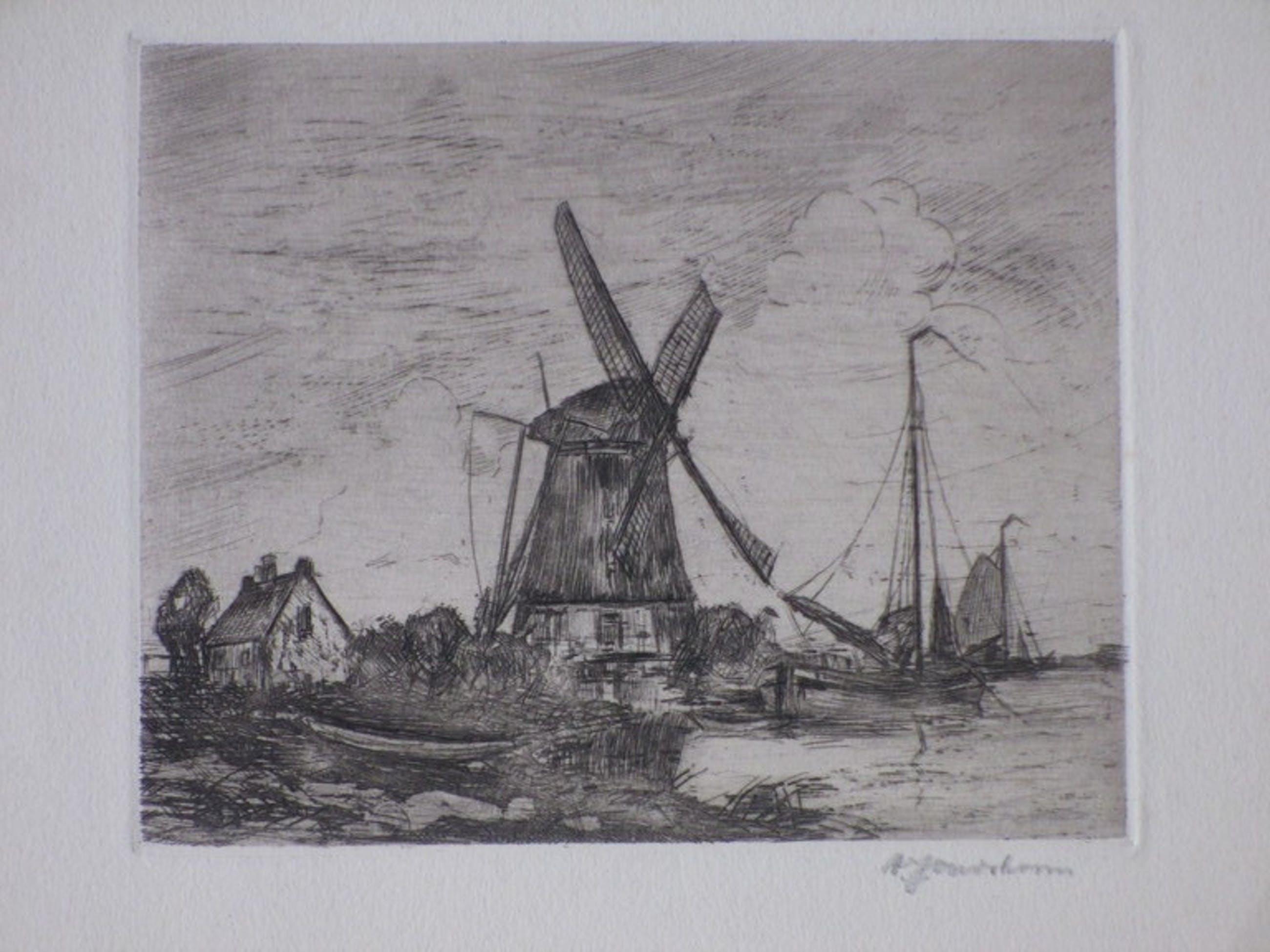 A.J.Oudshoorn, Waterlandschap met molen en zeilschip, Ets kopen? Bied vanaf 1!