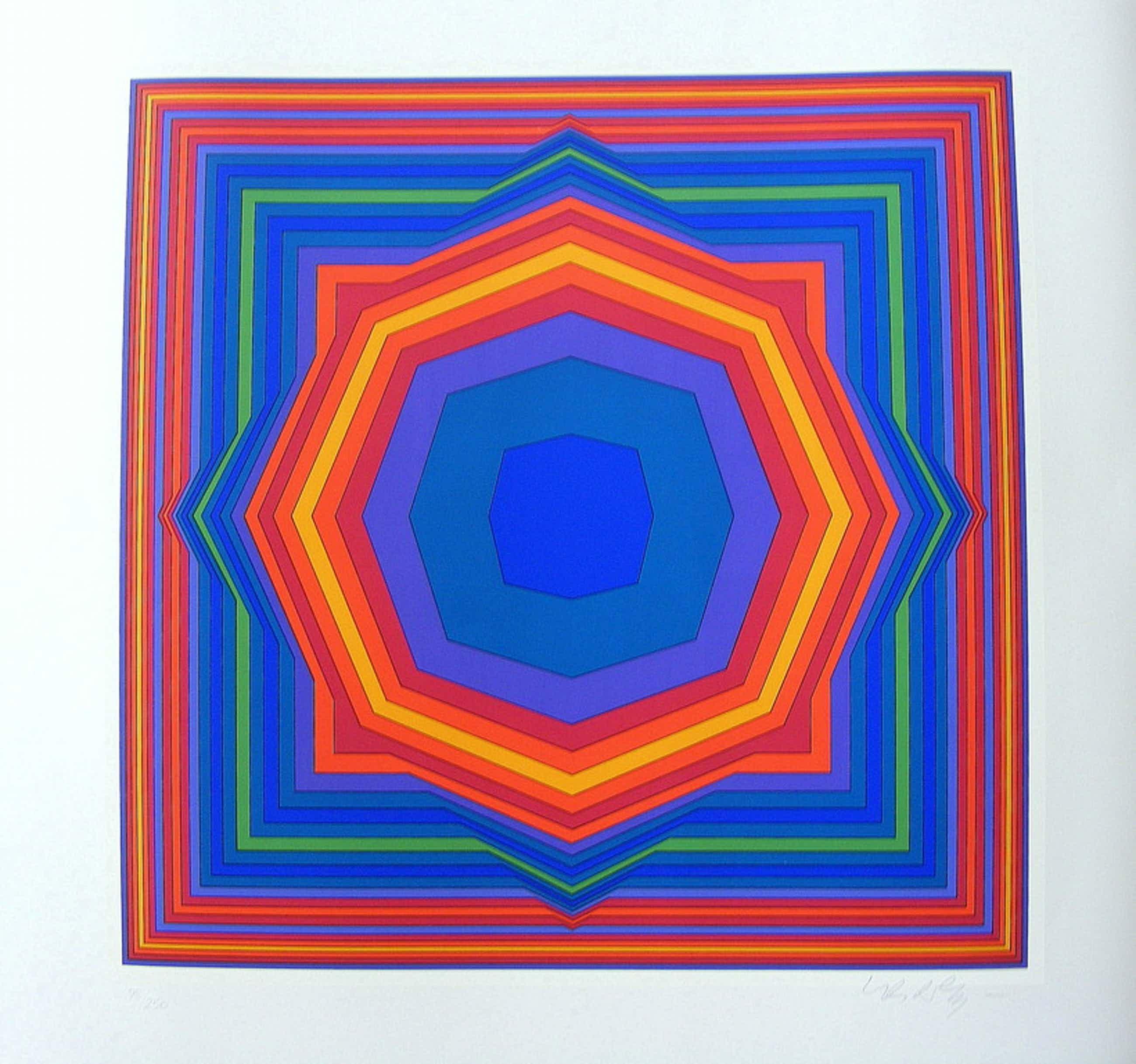 """Victor Vasarely, kleurenzeefdruk, """"Atta"""", 1983 kopen? Bied vanaf 175!"""