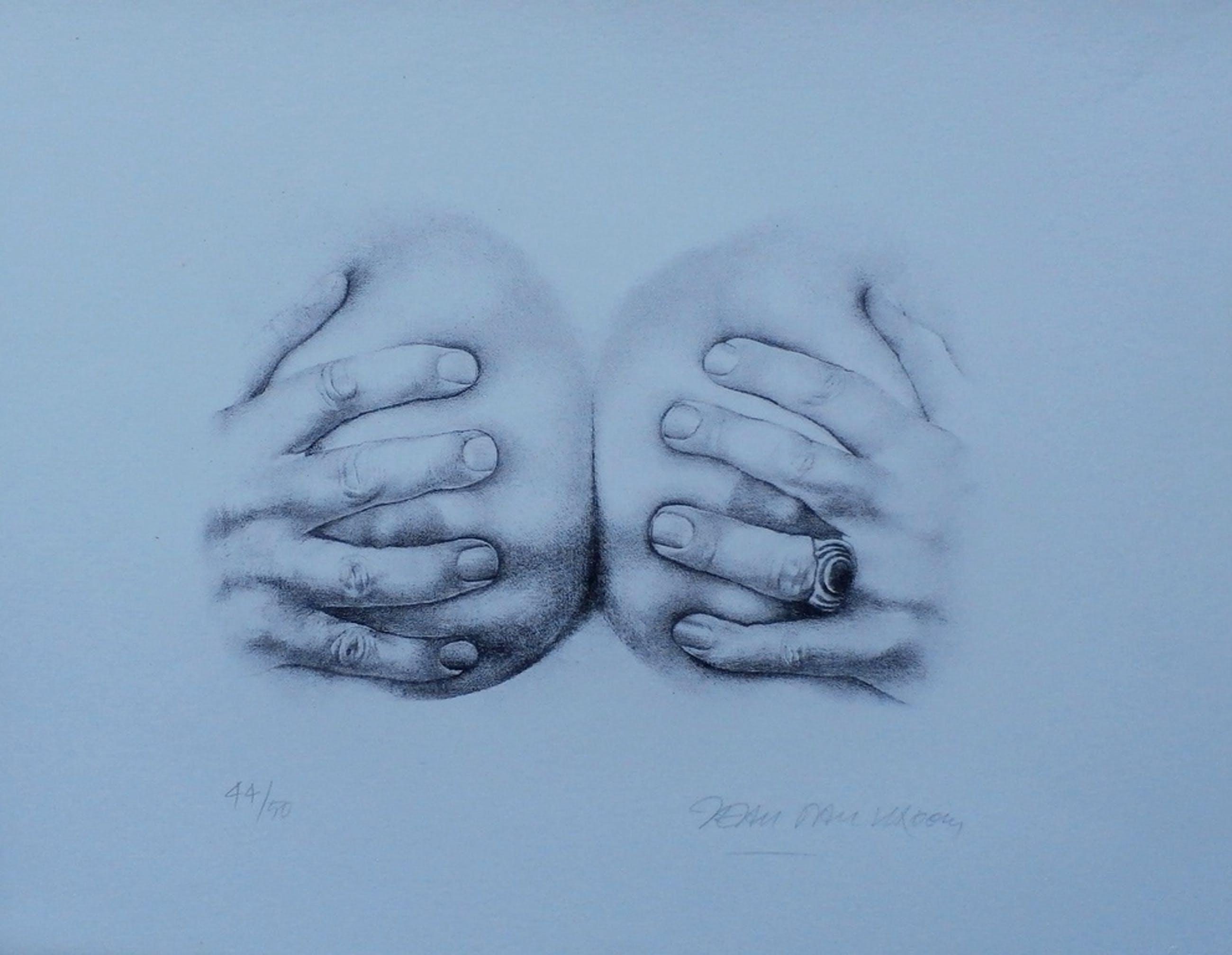 Jean-Paul Vroom - litho: handen op borsten - gesigneerd kopen? Bied vanaf 50!