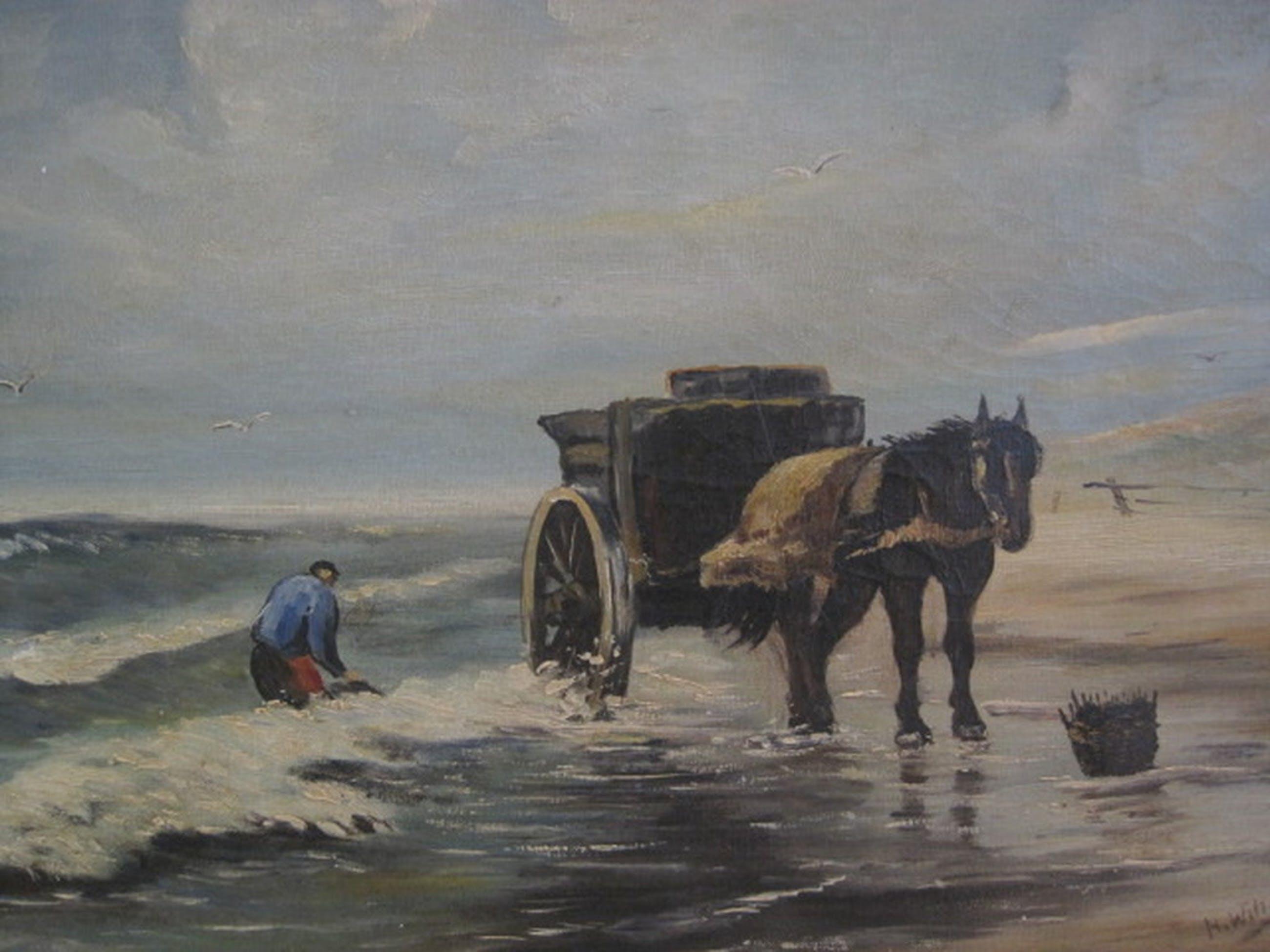 """onduid gesign olieverf """"Schelpenvisser aan de kust"""" omstreeks 1900 kopen? Bied vanaf 1!"""