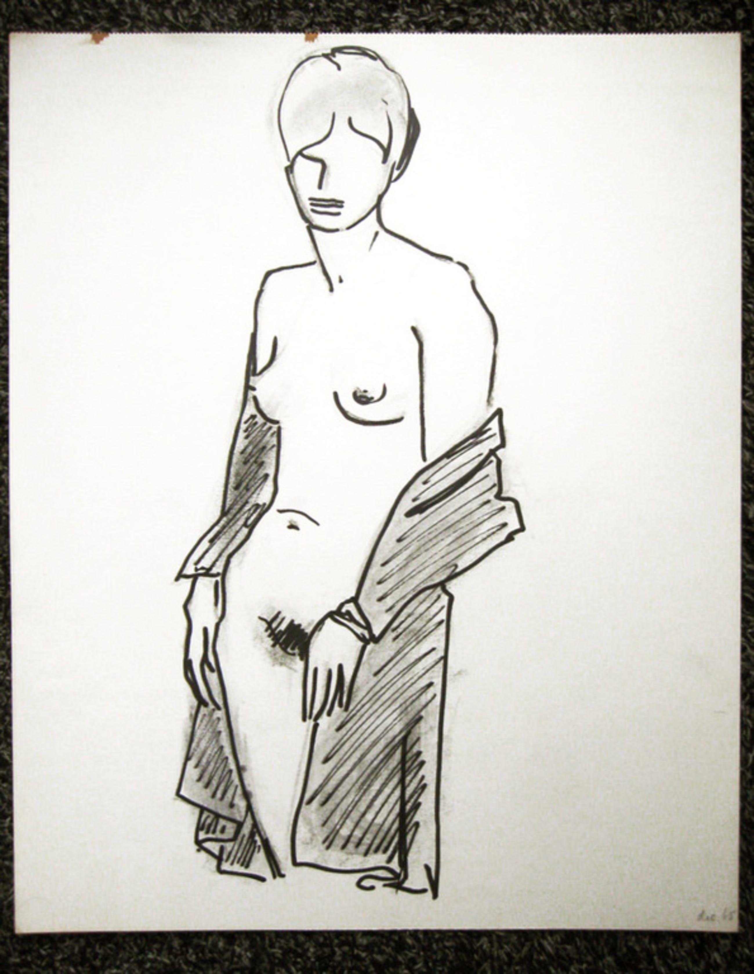 Staand vrouwelijk naakt - pen en potlood - Irene Joffroy 1965  kopen? Bied vanaf 35!
