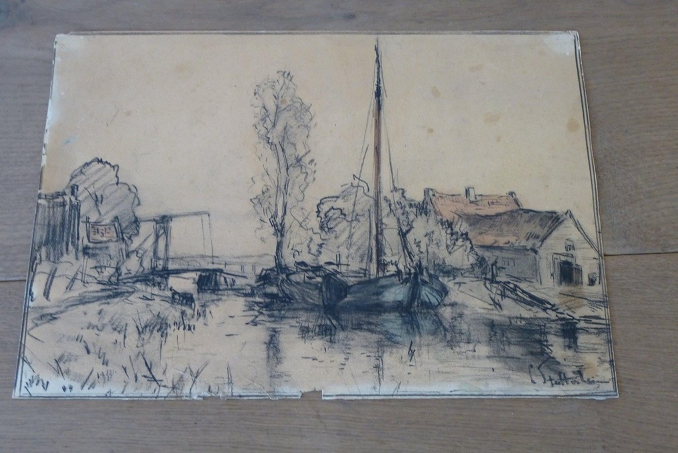 Louis Stutterheim, tekening: Ankeveen bij 's-Graveland, handgesigneerd op voor en achterzijde! kopen? Bied vanaf 1!