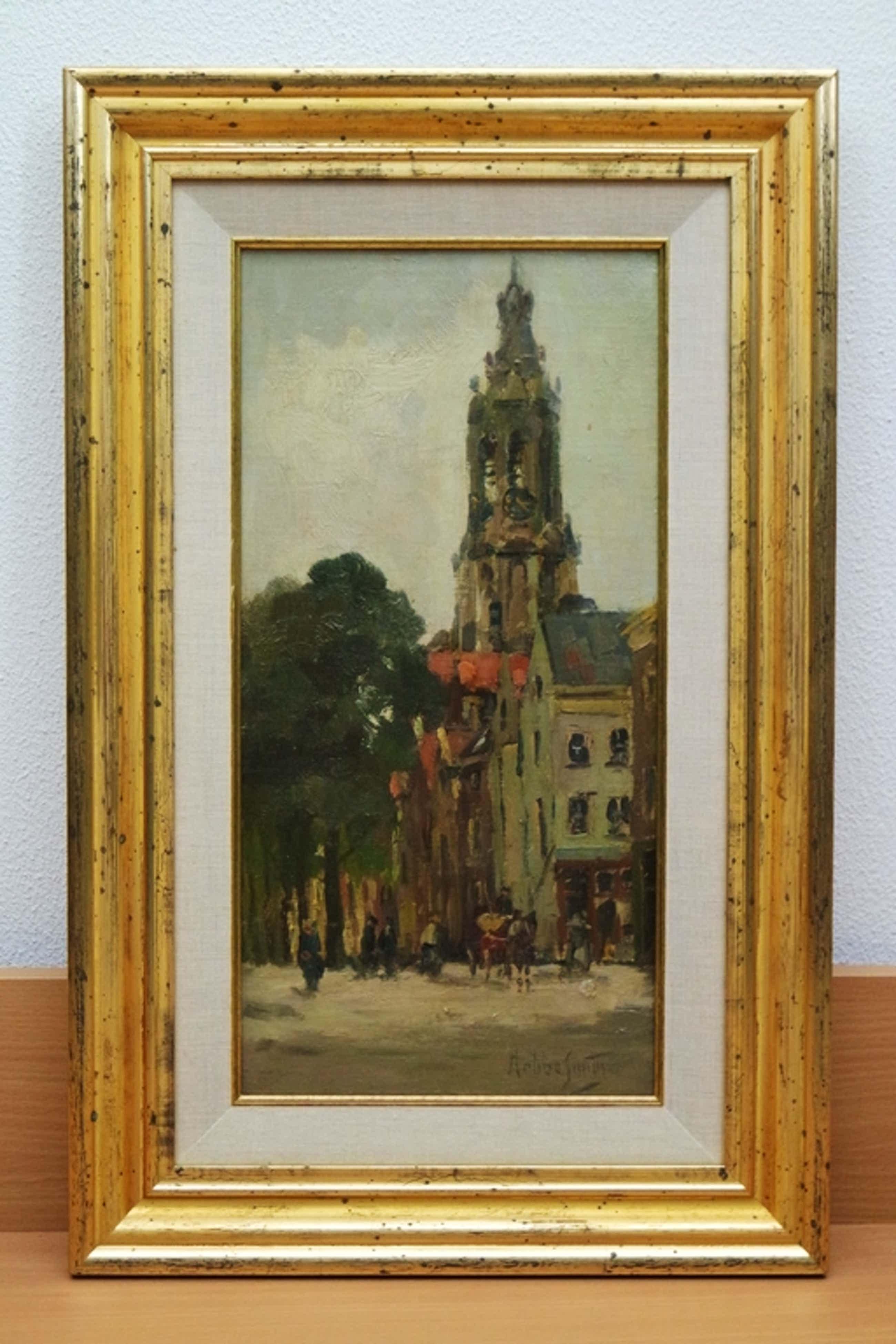 Hobbe SMITH: (1862-1942) - maroufle - Hollands stadsgezicht kopen? Bied vanaf 585!
